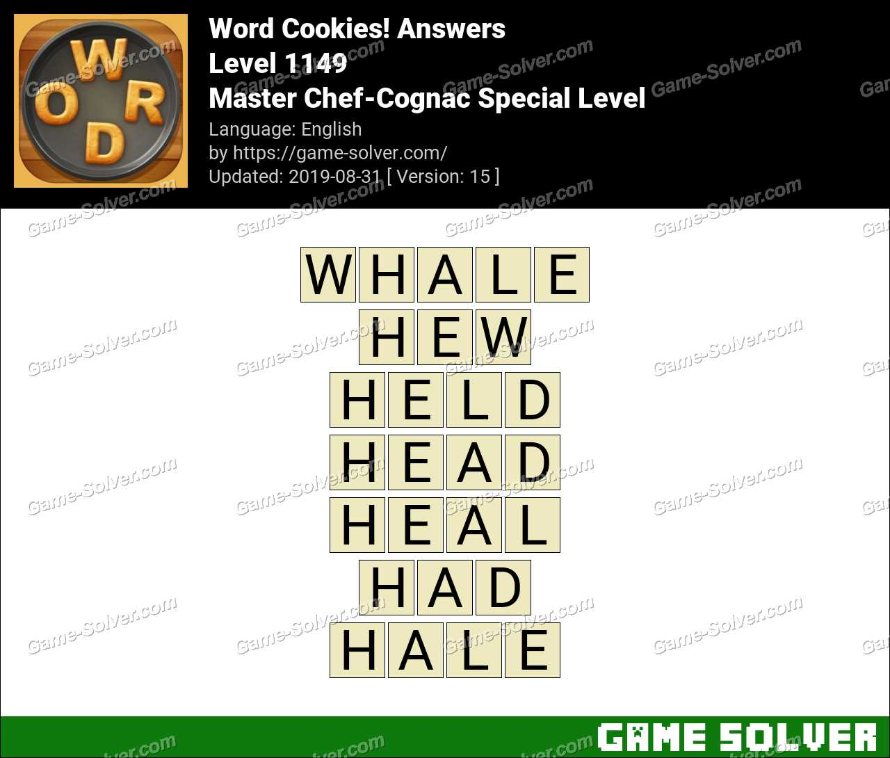 Word Cookies Master Chef-Cognac Special Level Answers