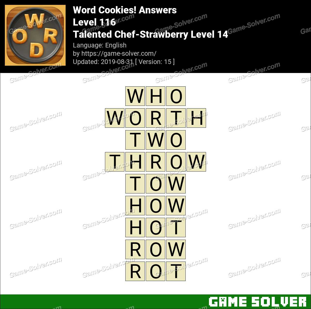 Word Cookies Talented Chef-Strawberry Level 14 Answers