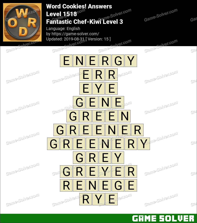 Word Cookies Fantastic Chef-Kiwi Level 3 Answers