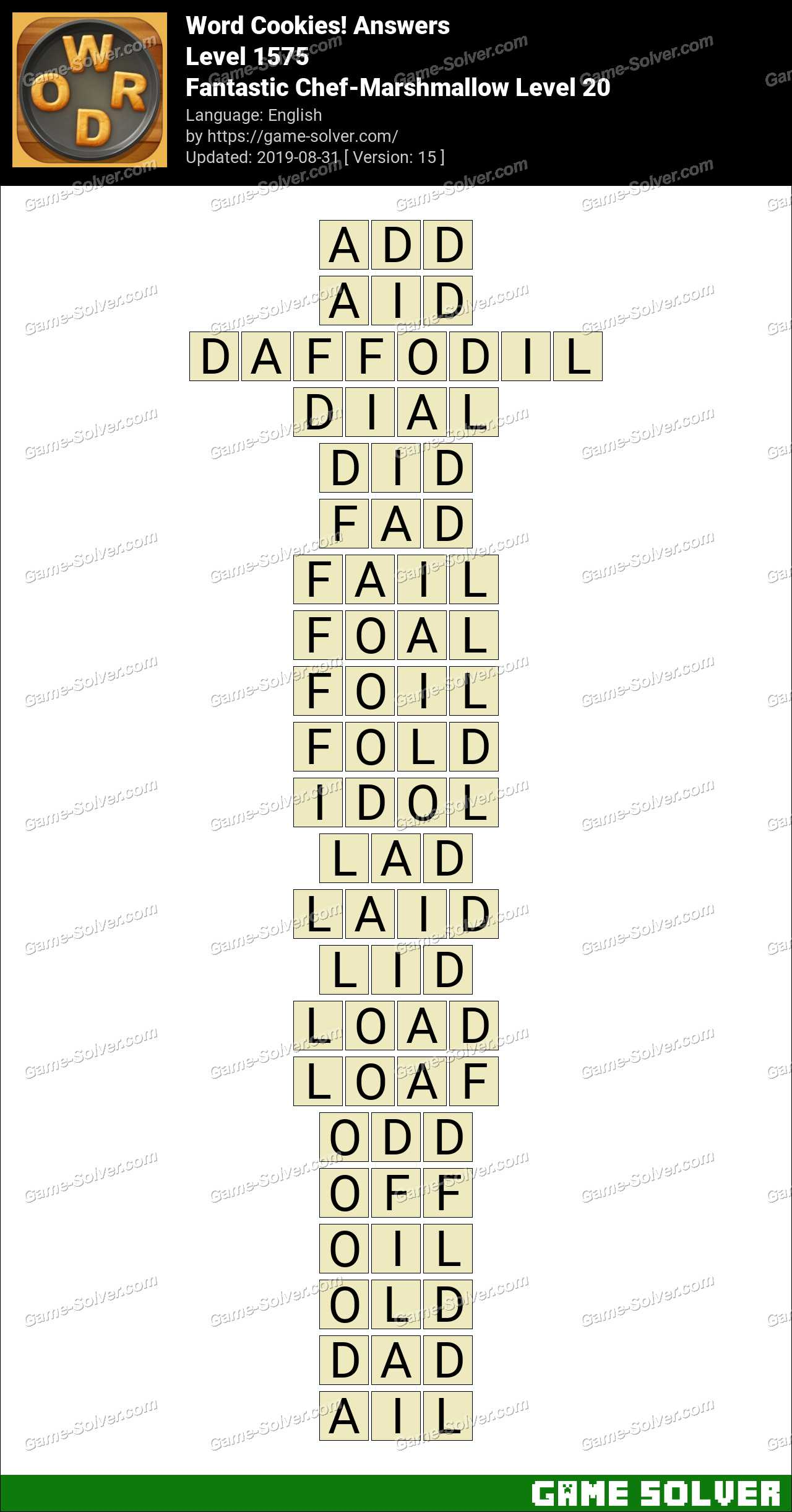 Word Cookies Fantastic Chef-Marshmallow Level 20 Answers