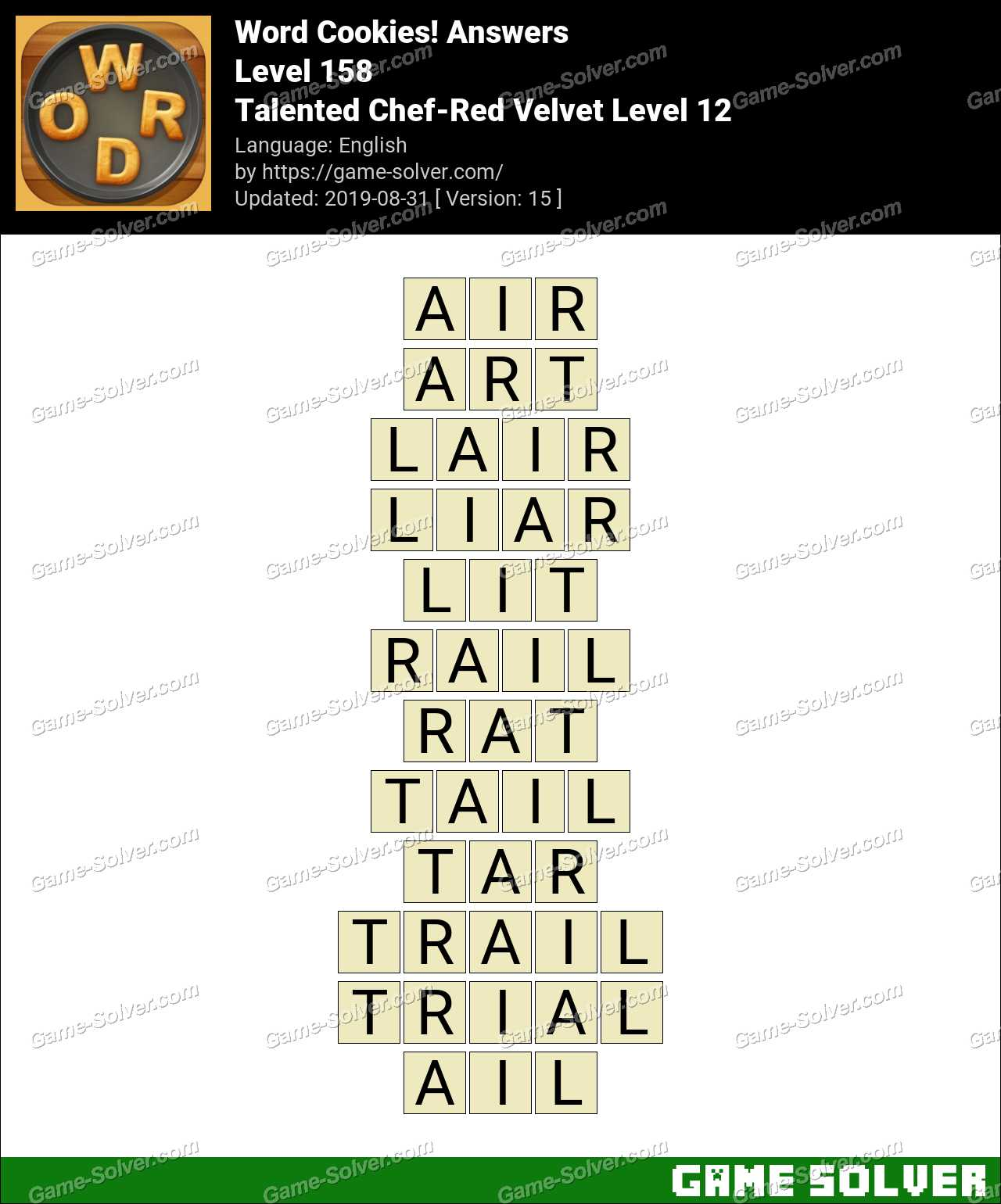Word Cookies Talented Chef-Red Velvet Level 12 Answers