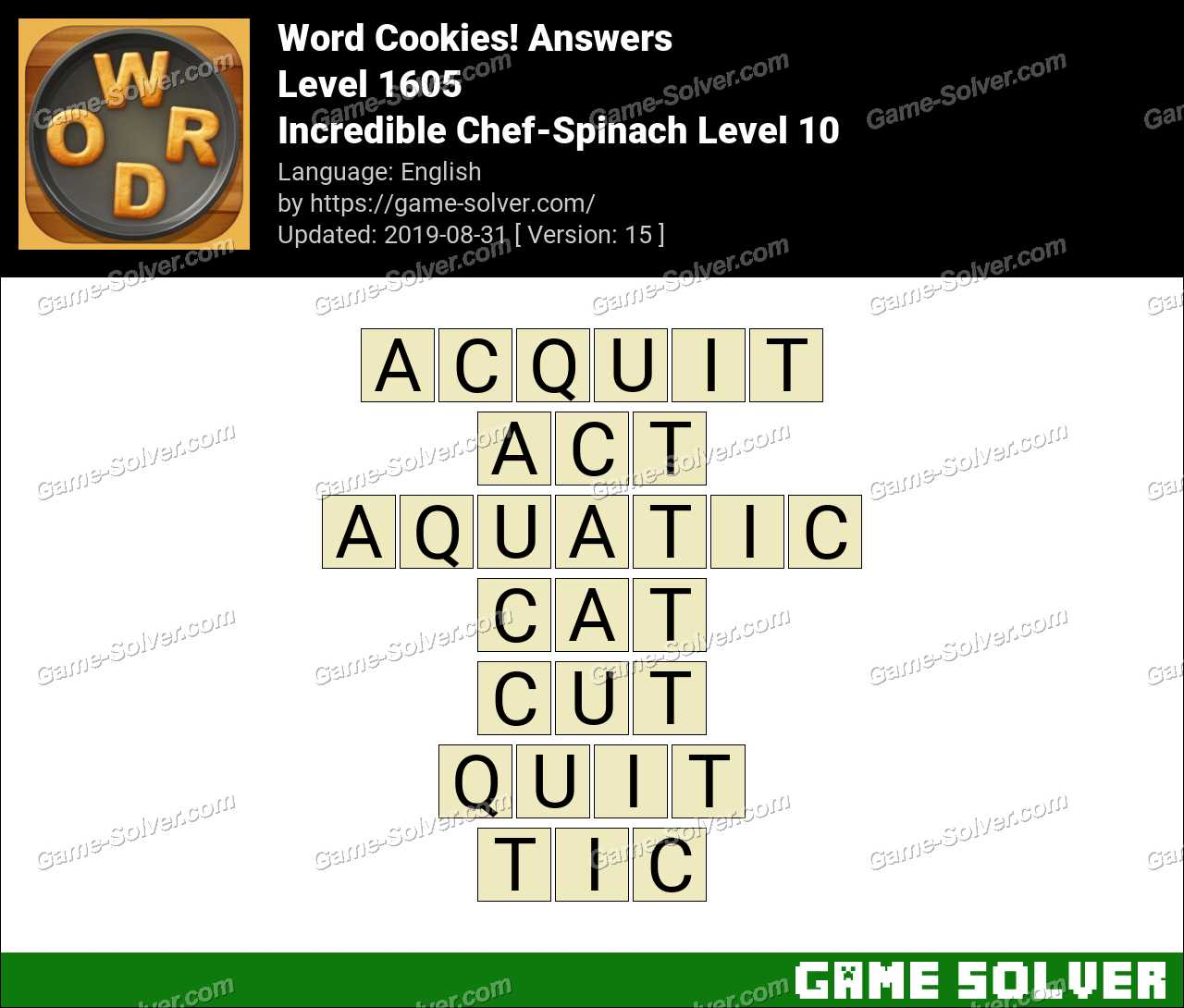 Word Cookies Incredible Chef-Spinach Level 10 Answers