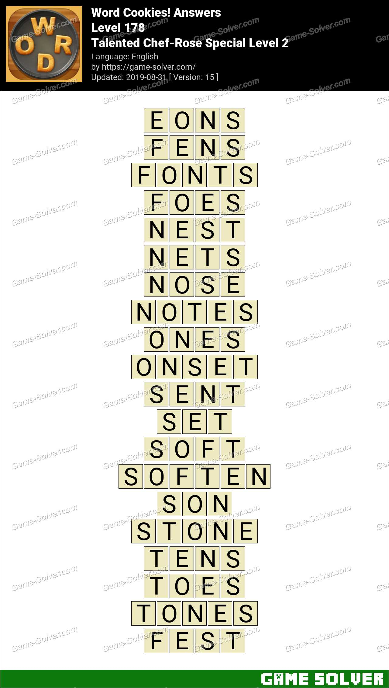 Word Cookies Talented Chef-Rose Special Level 2 Answers