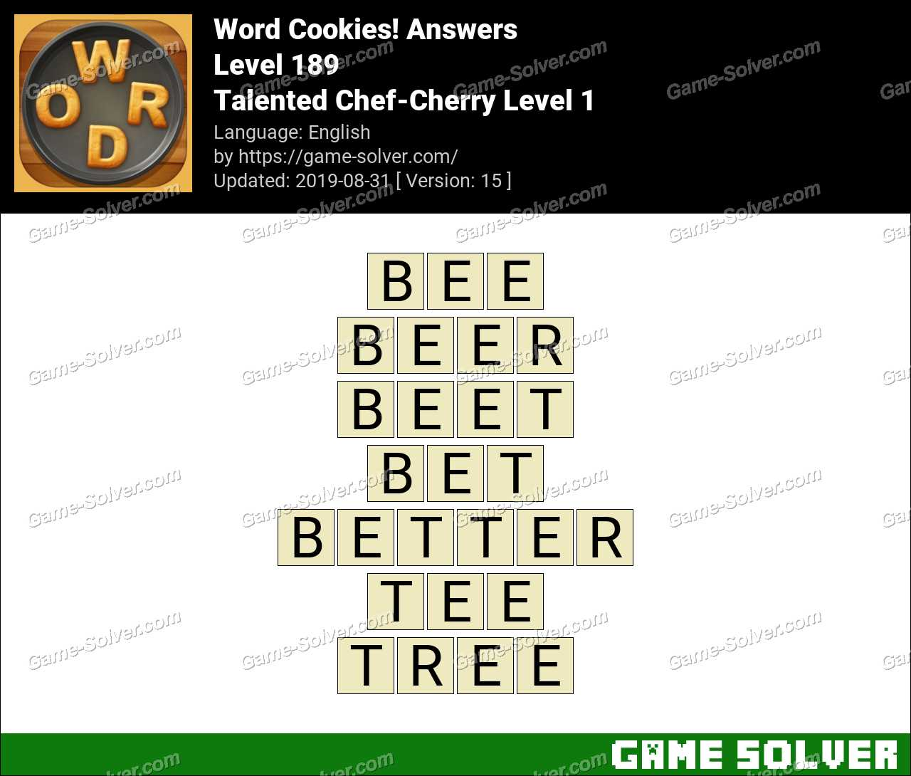 Word Cookies Talented Chef-Cherry Level 1 Answers