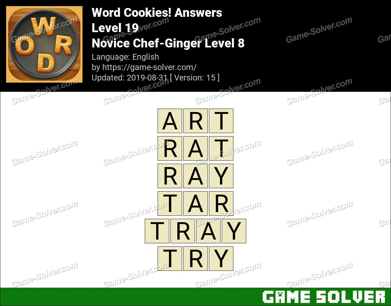 Word Cookies Novice Chef-Ginger Level 8 Answers