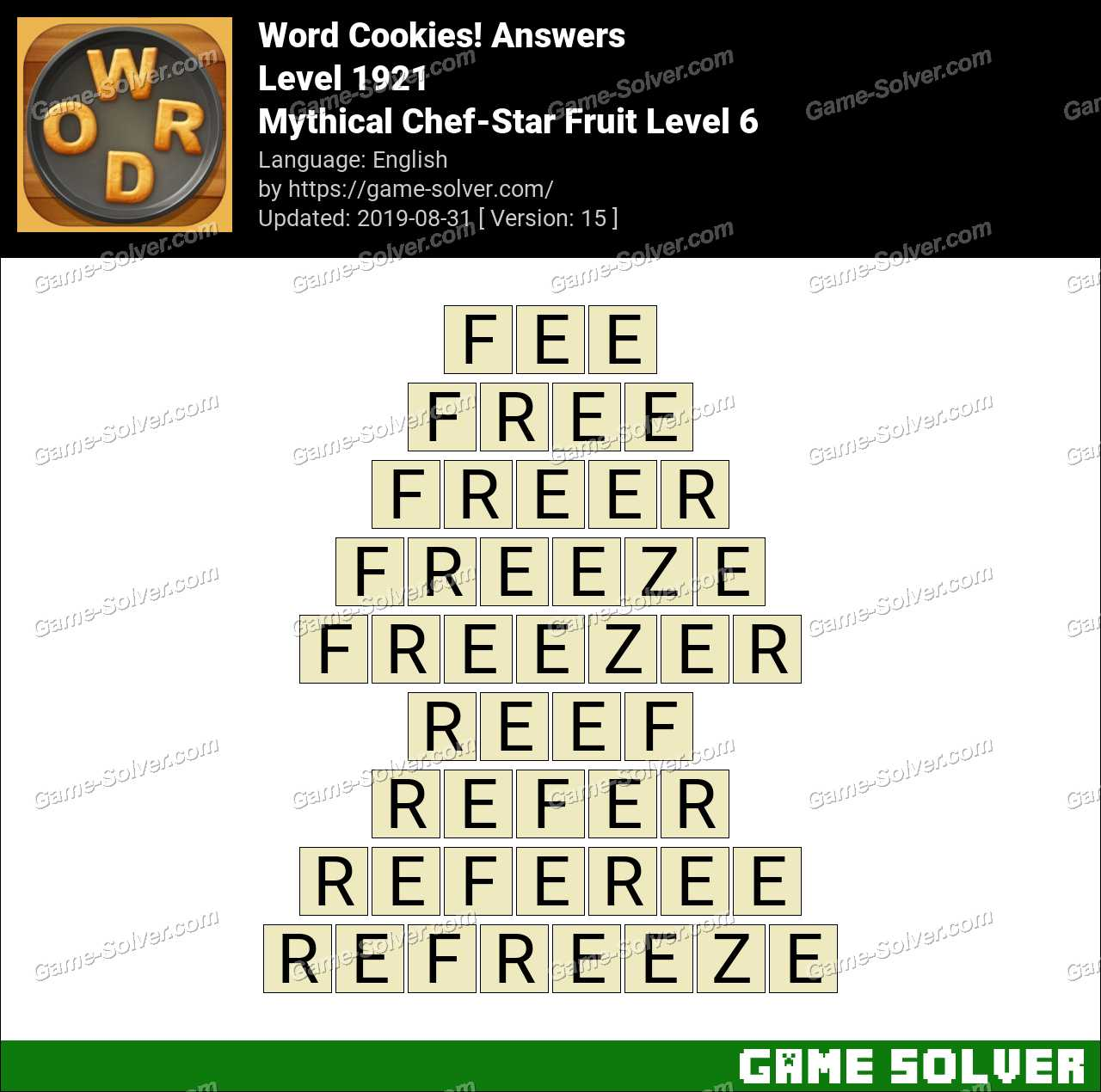 Word Cookies Mythical Chef-Star Fruit Level 6 Answers