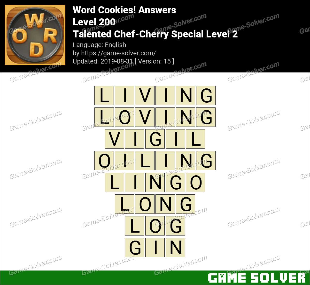 Word Cookies Talented Chef-Cherry Special Level 2 Answers