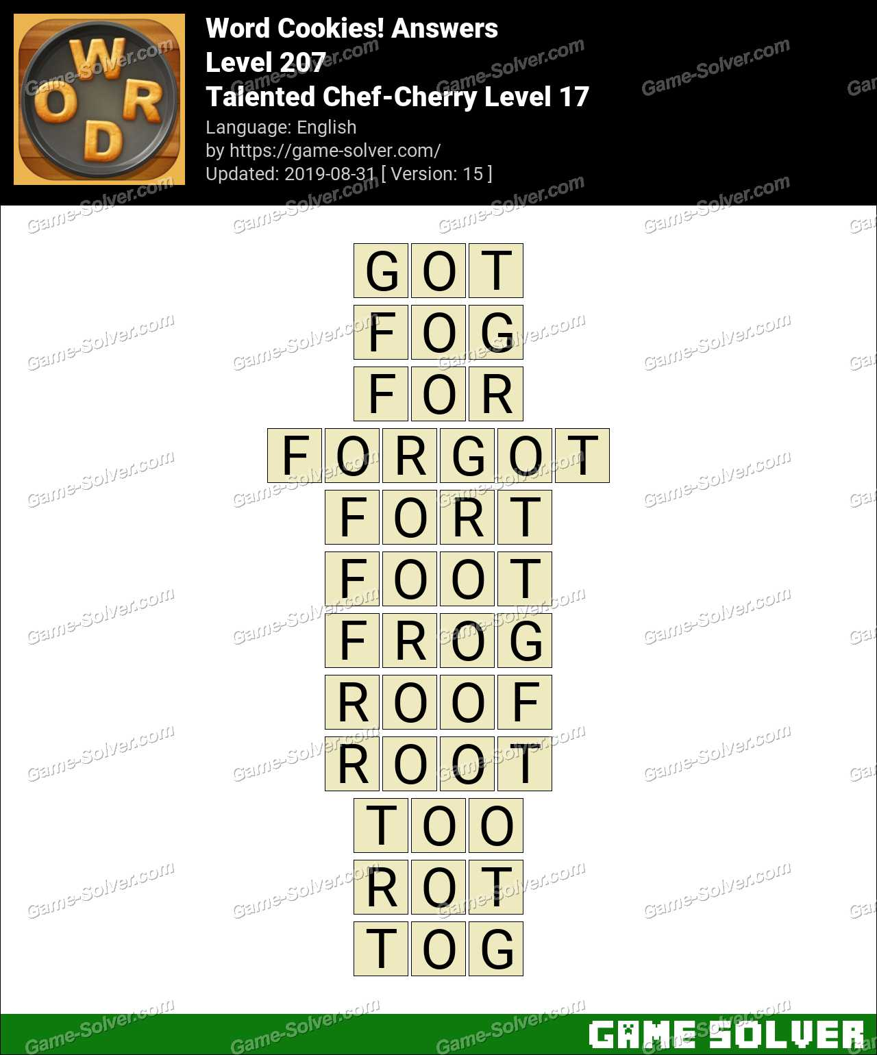 Word Cookies Talented Chef-Cherry Level 17 Answers