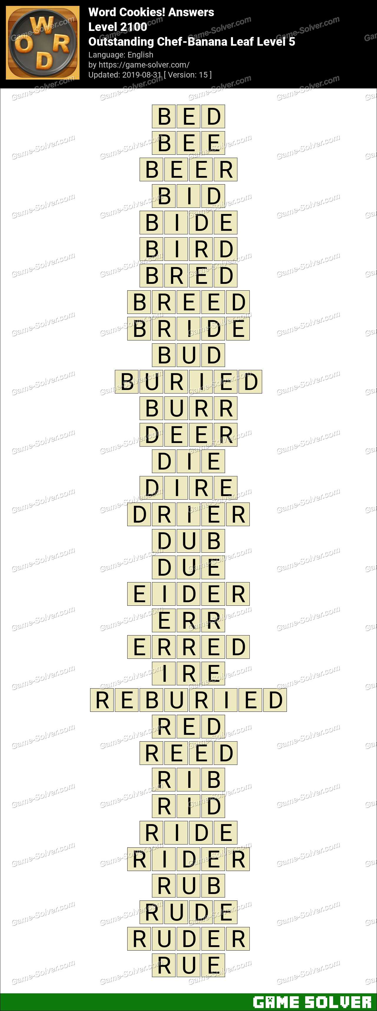 Word Cookies Outstanding Chef-Banana Leaf Level 5 Answers