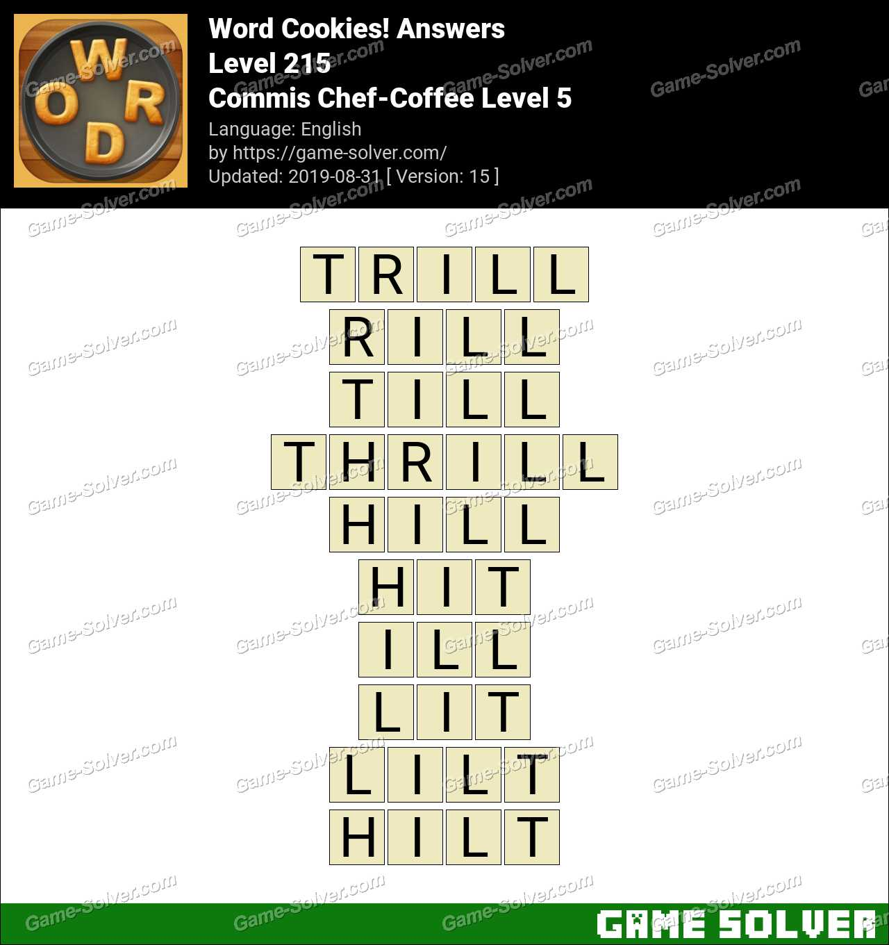 Word Cookies Commis Chef-Coffee Level 5 Answers