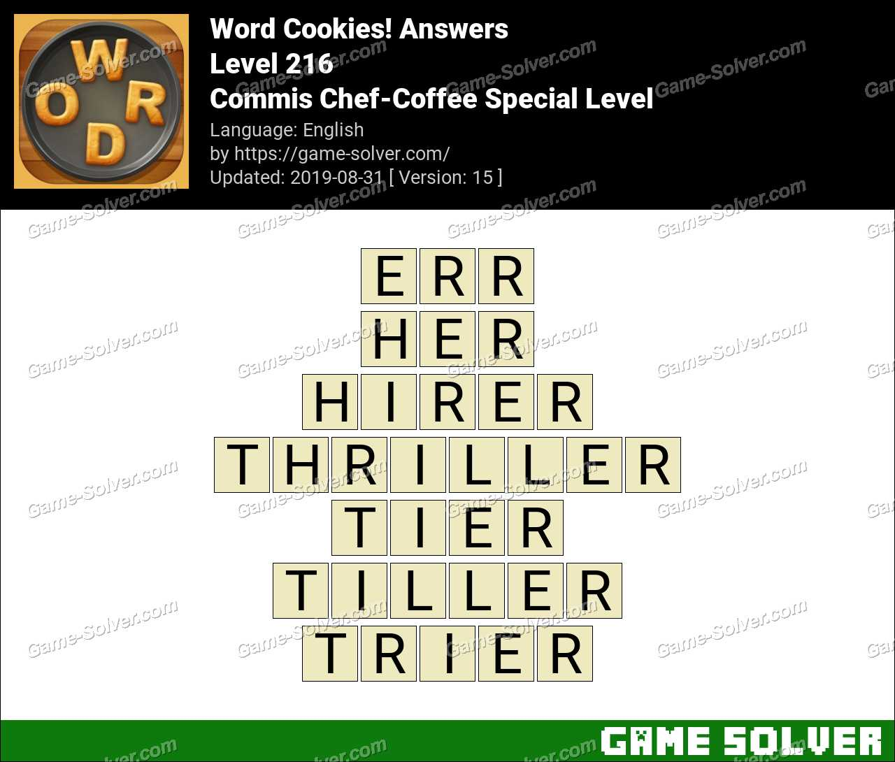 Word Cookies Commis Chef-Coffee Special Level Answers