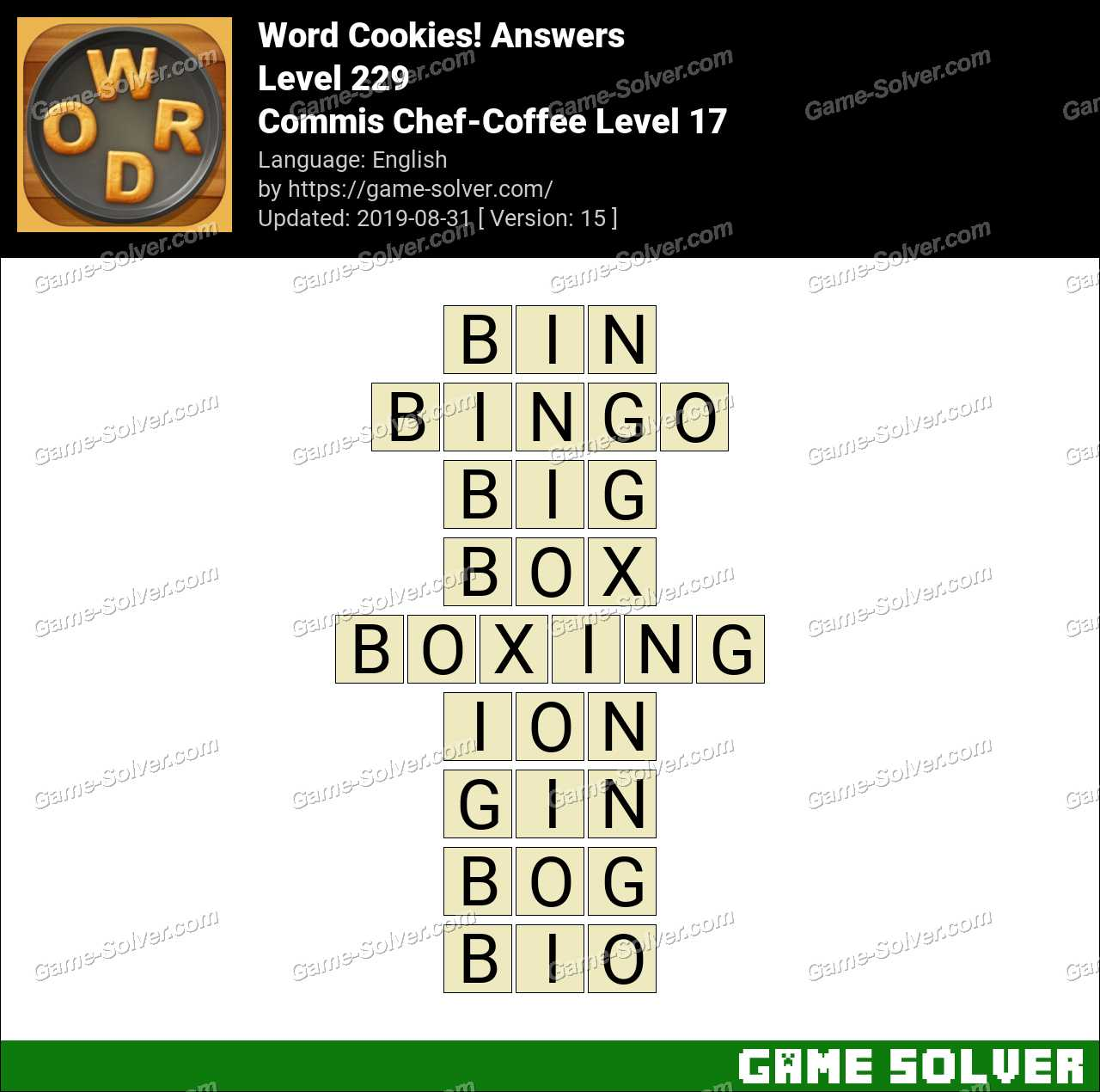 Word Cookies Commis Chef-Coffee Level 17 Answers