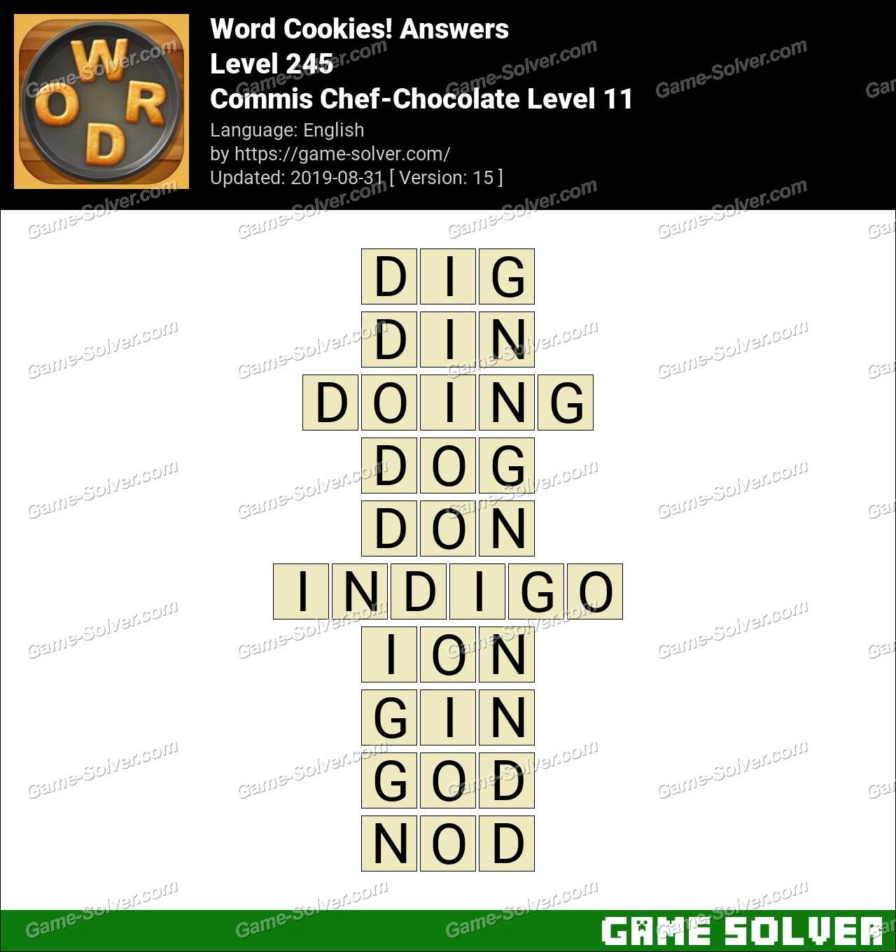 Word Cookies Commis Chef-Chocolate Level 11 Answers