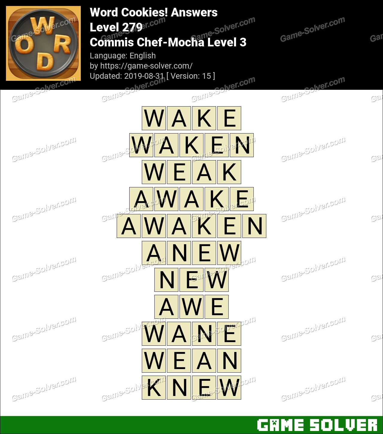Word Cookies Commis Chef-Mocha Level 3 Answers