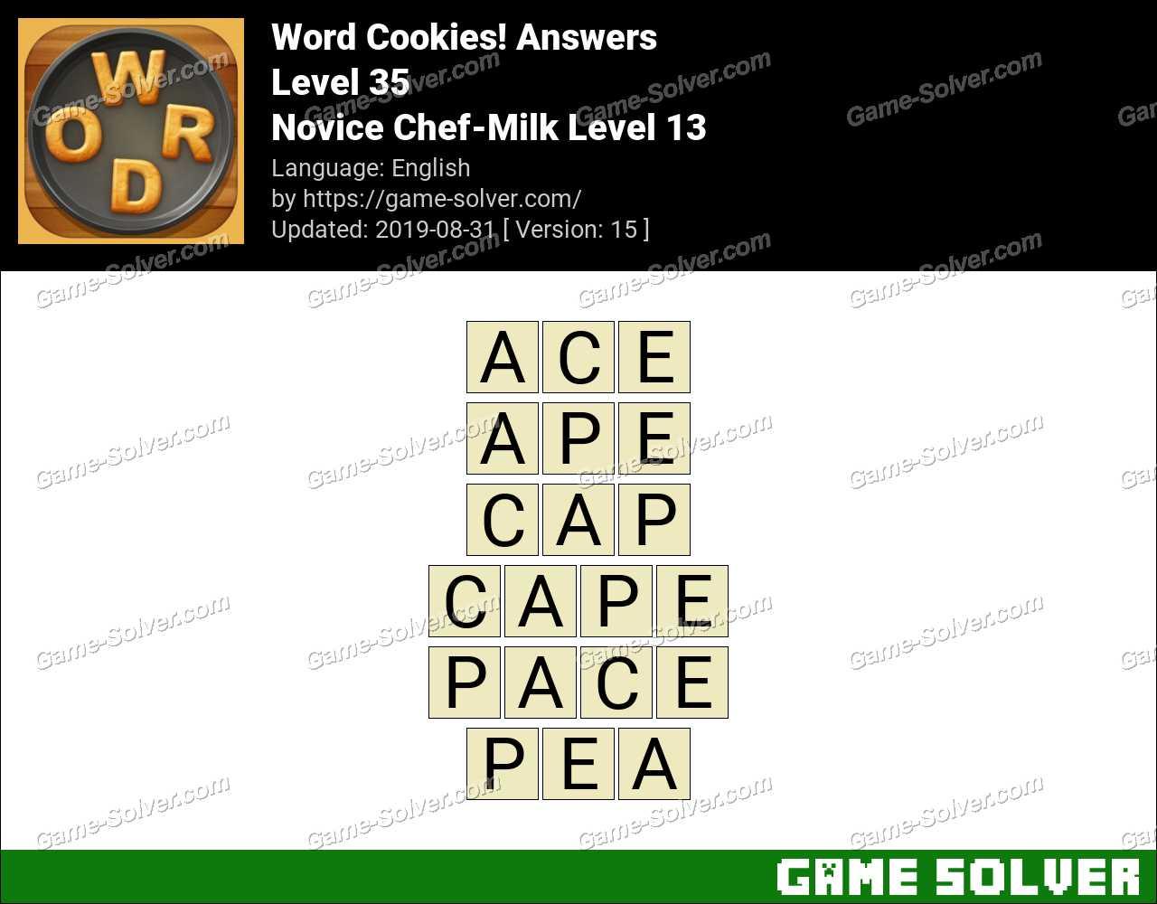 Word Cookies Novice Chef-Milk Level 13 Answers