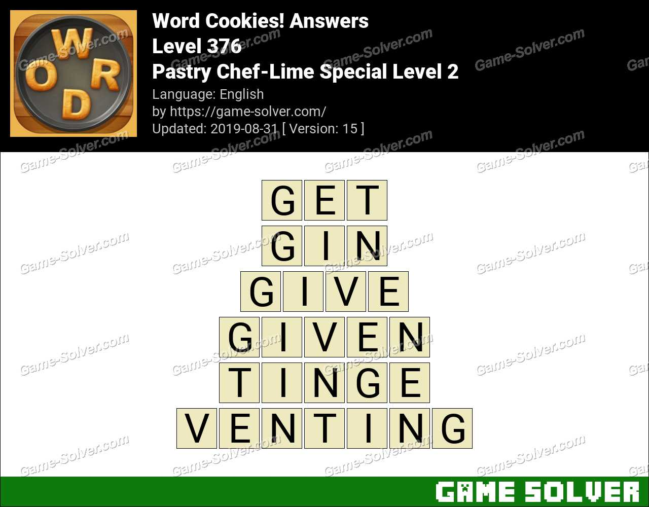 Word Cookies Pastry Chef-Lime Special Level 2 Answers