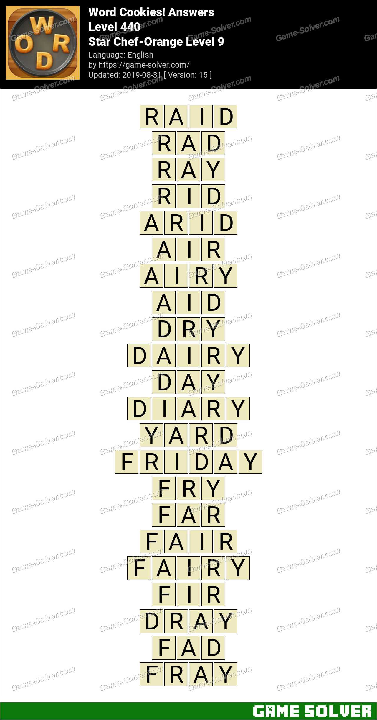 Word Cookies Star Chef-Orange Level 9 Answers