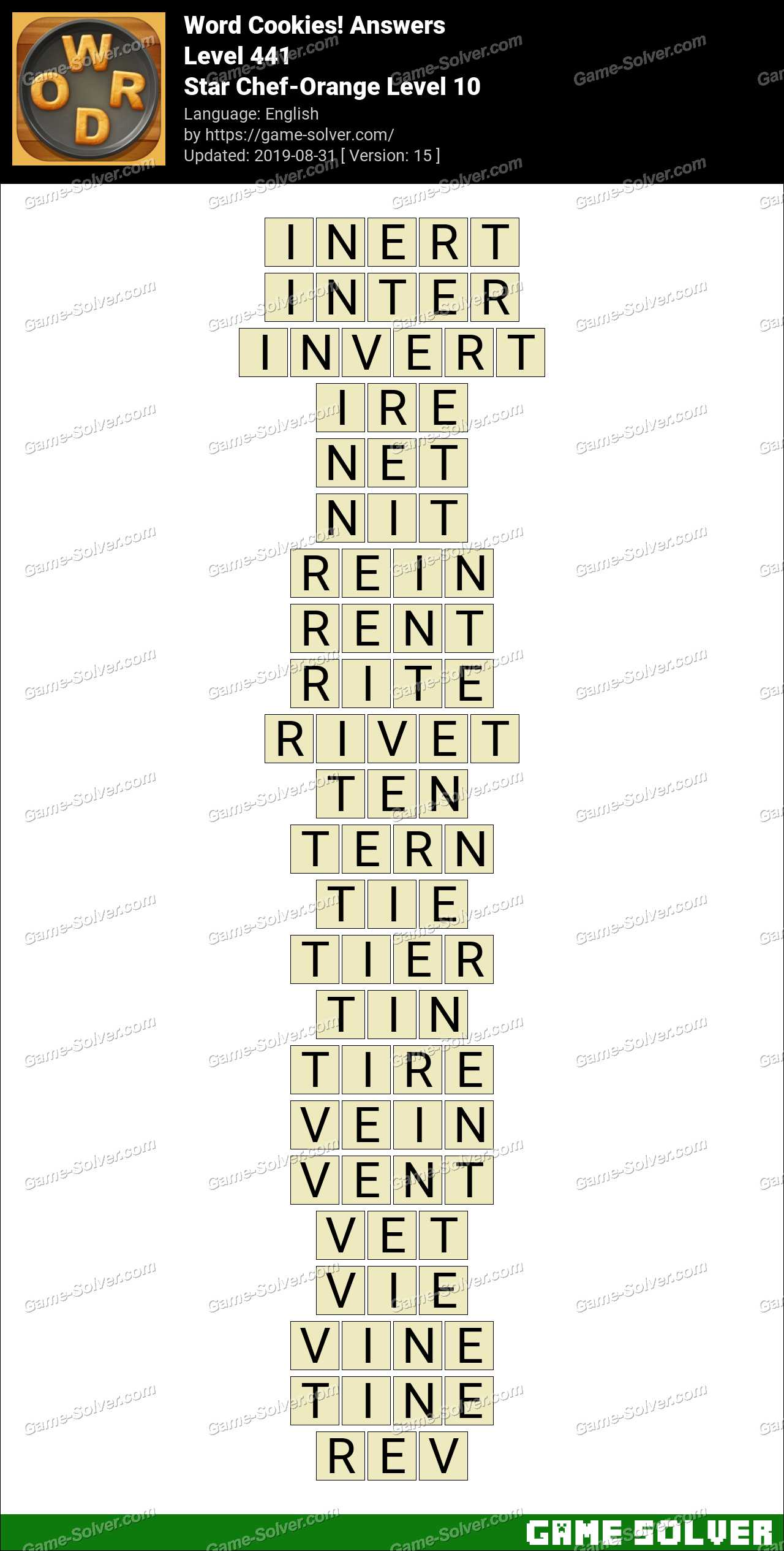 Word Cookies Star Chef-Orange Level 10 Answers