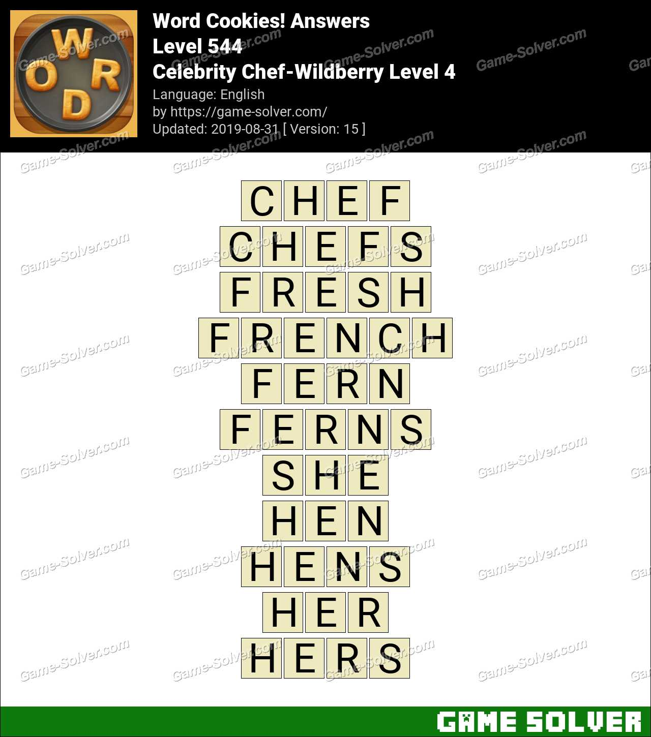 Word Cookies Celebrity Chef-Wildberry Level 4 Answers