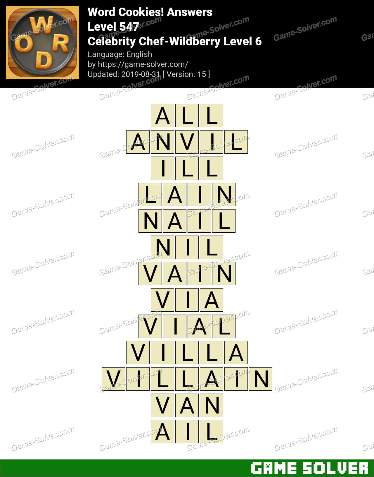 Word Cookies Celebrity Chef-Wildberry Level 6 Answers