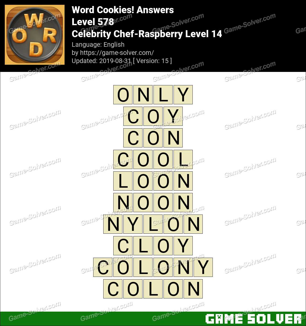 Word Cookies Celebrity Chef-Raspberry Level 14 Answers