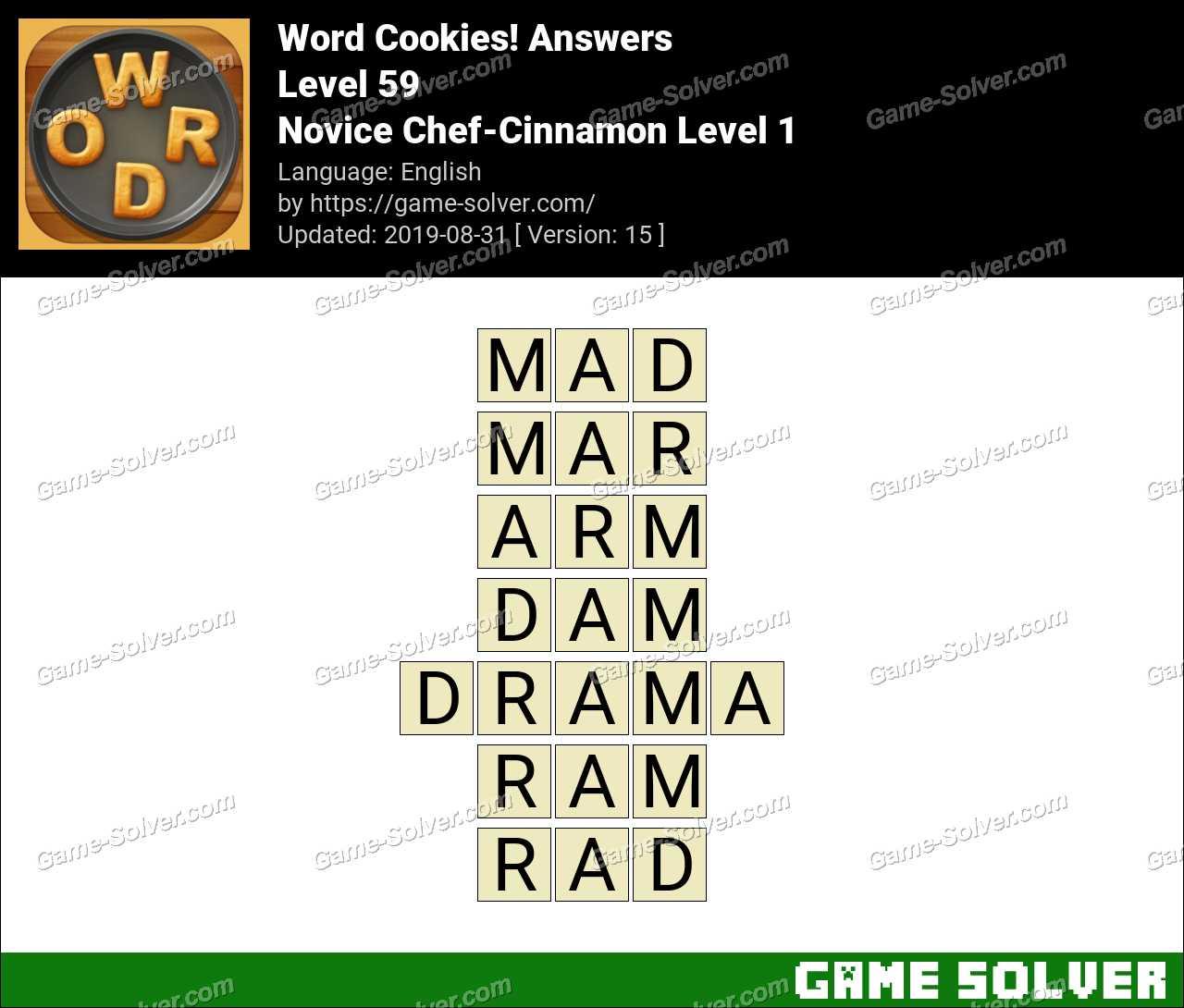 Word Cookies Novice Chef-Cinnamon Level 1 Answers