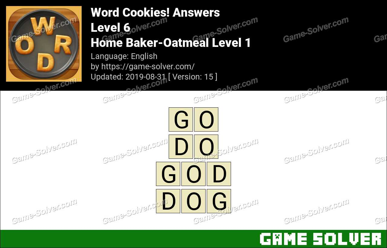 Word Cookies Home Baker-Oatmeal Level 1 Answers