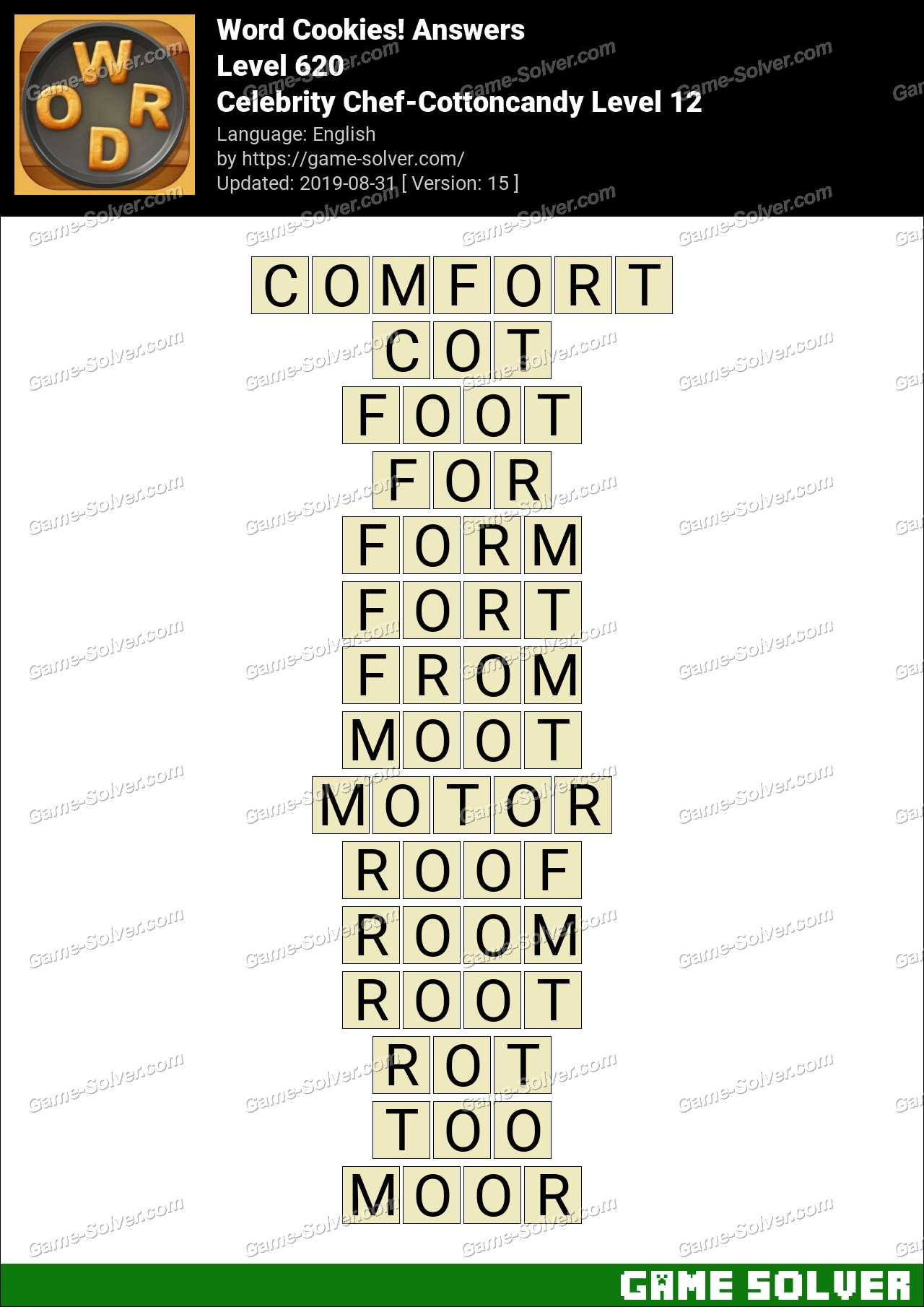 Word Cookies Celebrity Chef-Cottoncandy Level 12 Answers