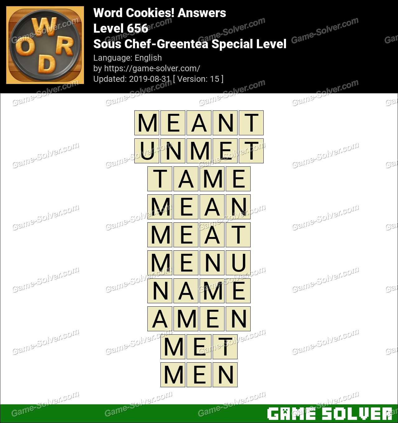 Word Cookies Sous Chef-Greentea Special Level Answers