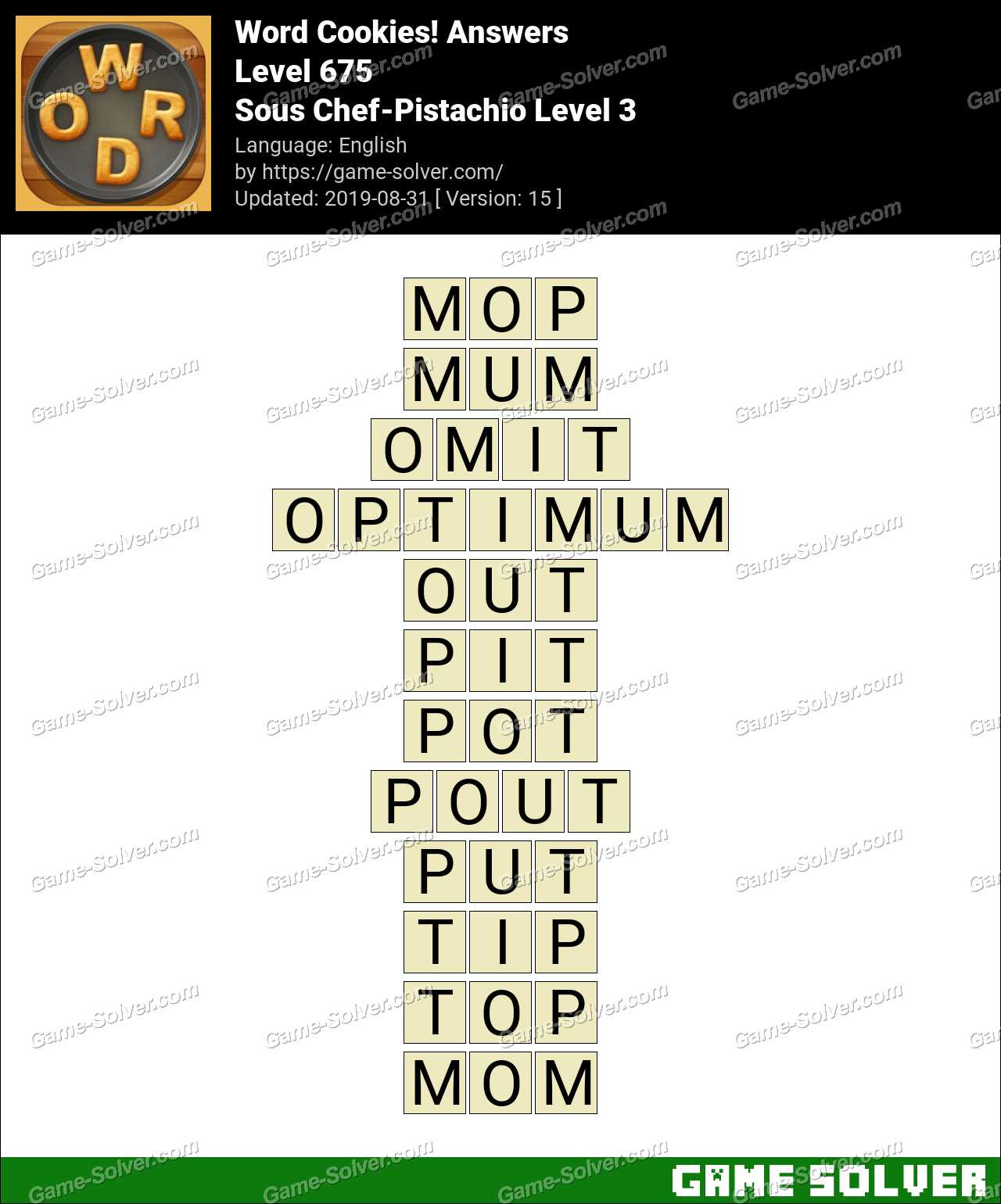 Word Cookies Sous Chef-Pistachio Level 3 Answers