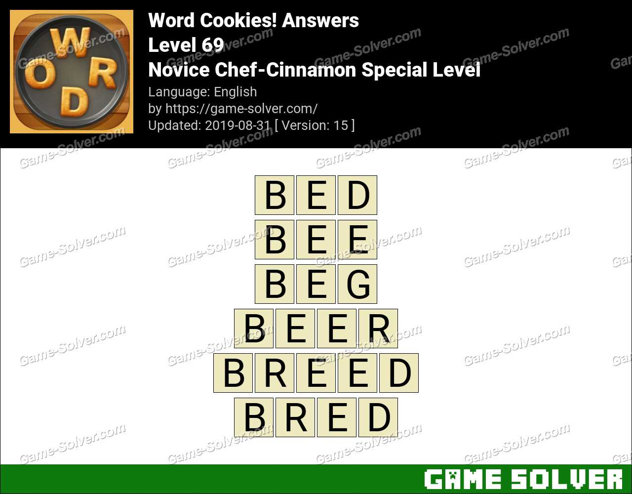 Word Cookies Novice Chef-Cinnamon Special Level Answers
