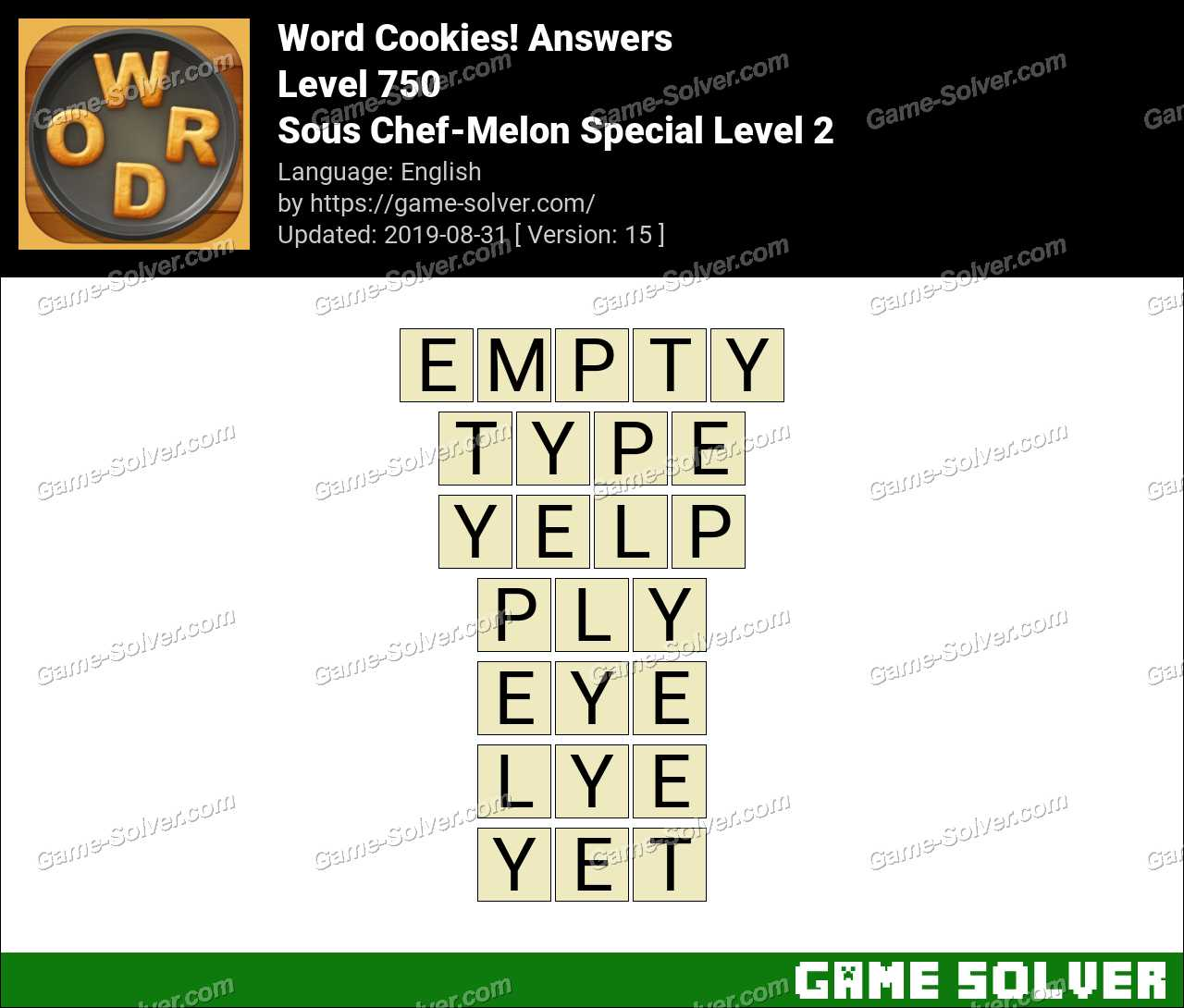 Word Cookies Sous Chef-Melon Special Level 2 Answers