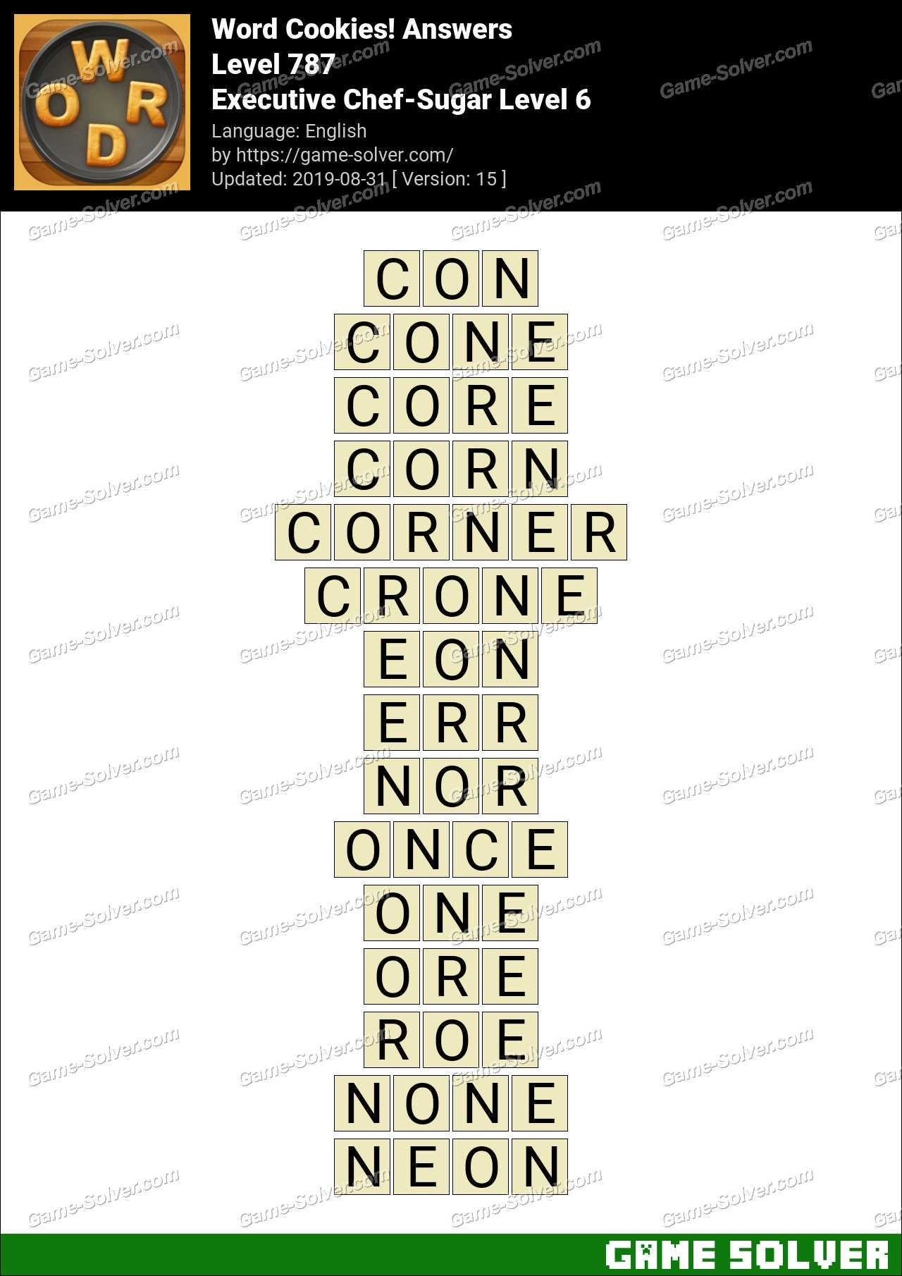 Word Cookies Executive Chef-Sugar Level 6 Answers