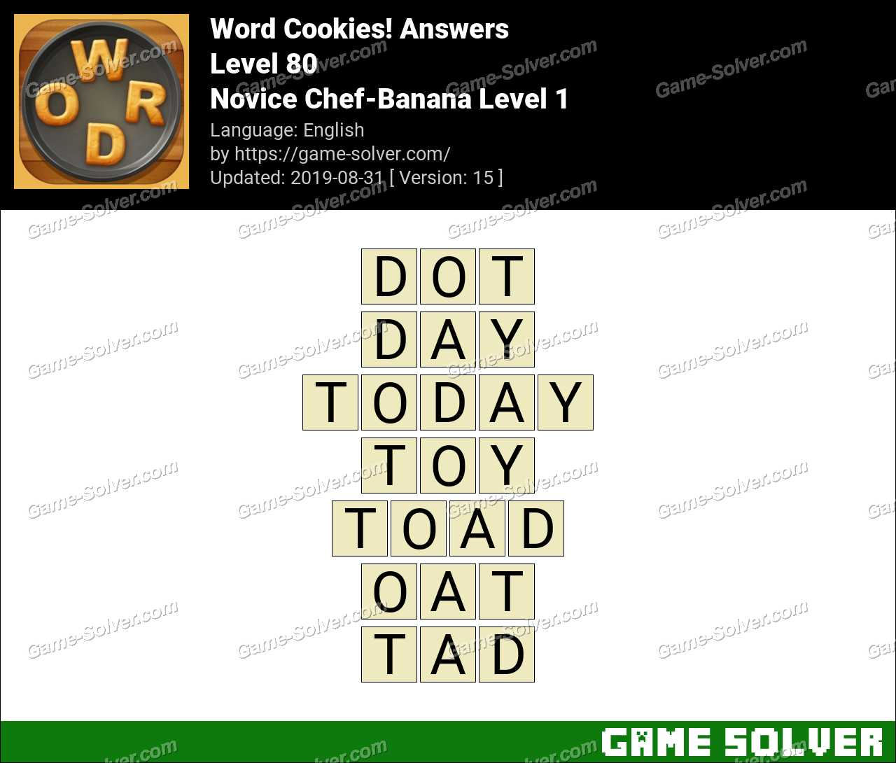Word Cookies Novice Chef-Banana Level 1 Answers
