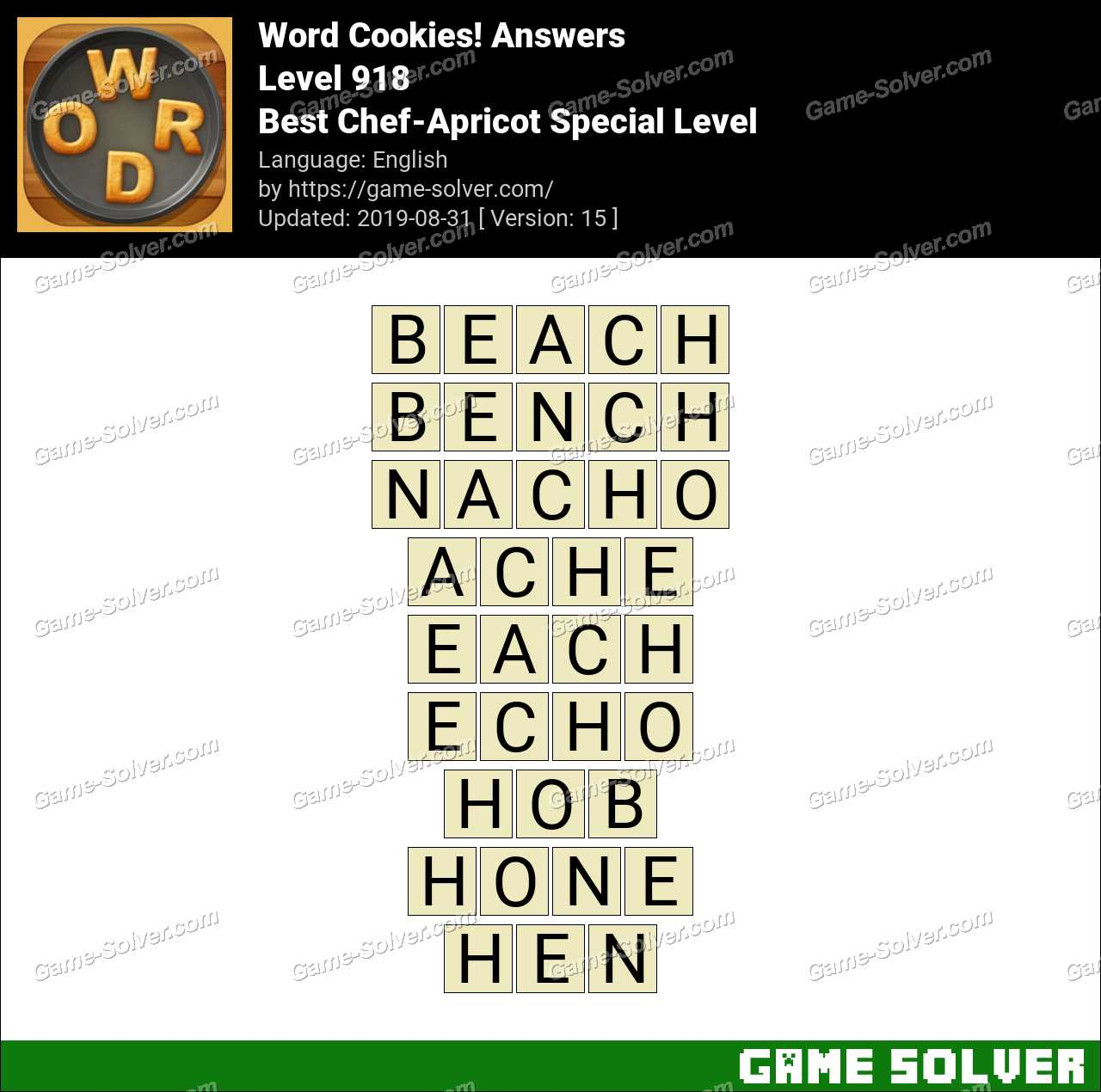 Word Cookies Best Chef-Apricot Special Level Answers