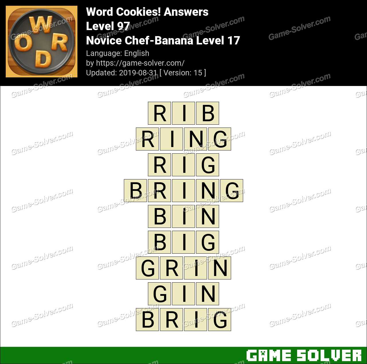 Word Cookies Novice Chef-Banana Level 17 Answers