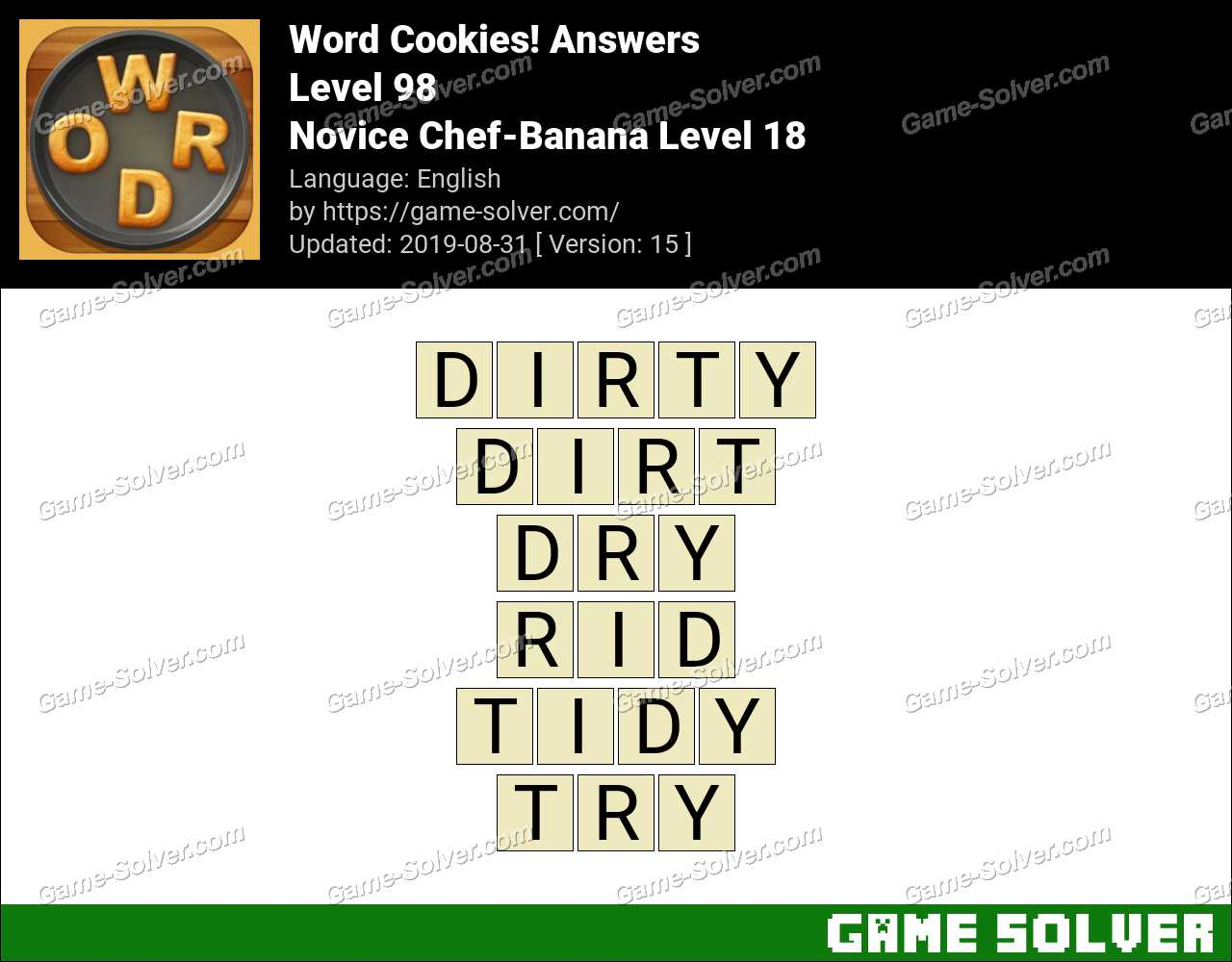 Word Cookies Novice Chef-Banana Level 18 Answers