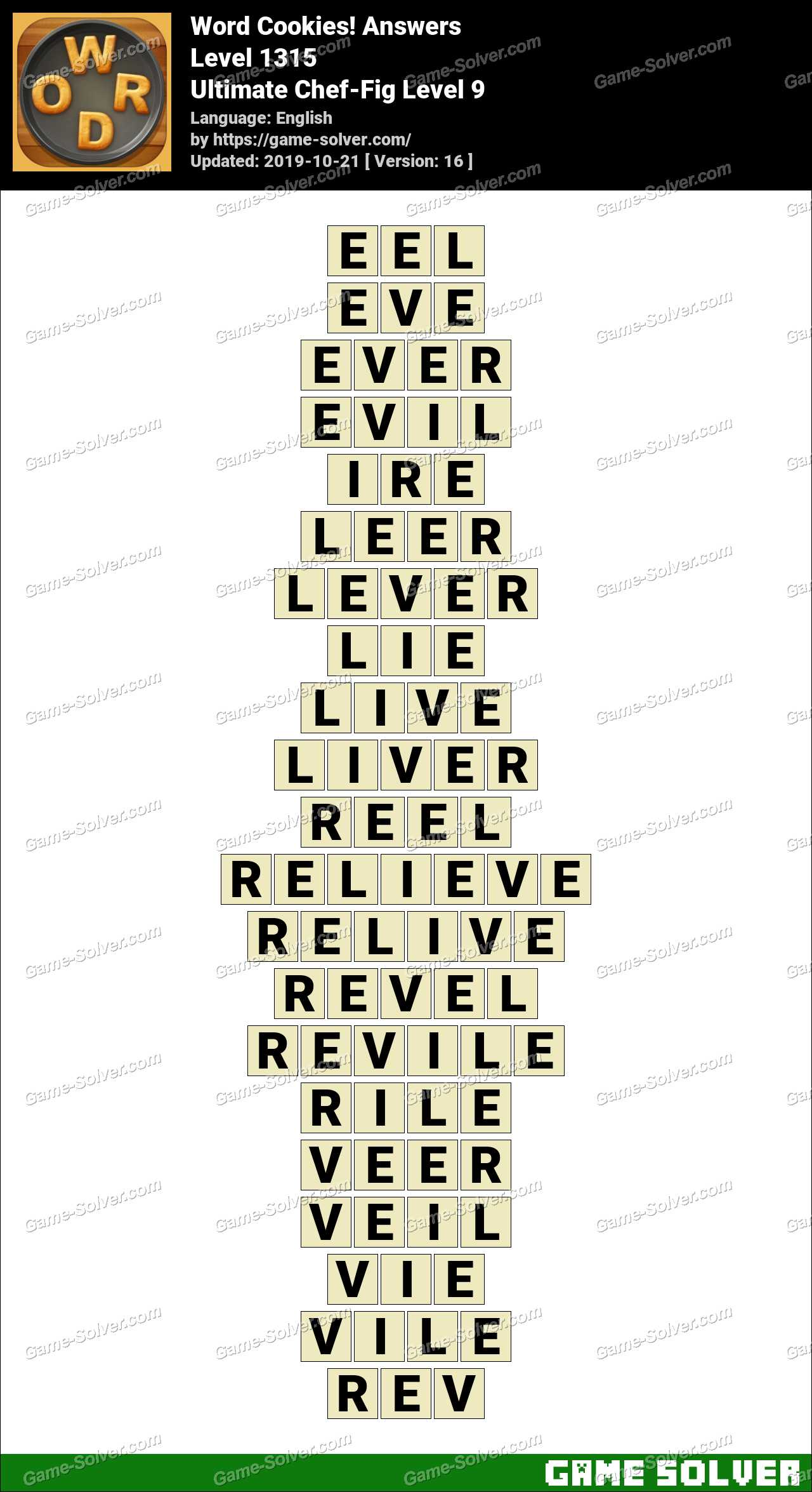 Word Cookies Ultimate Chef-Fig Level 9 Answers