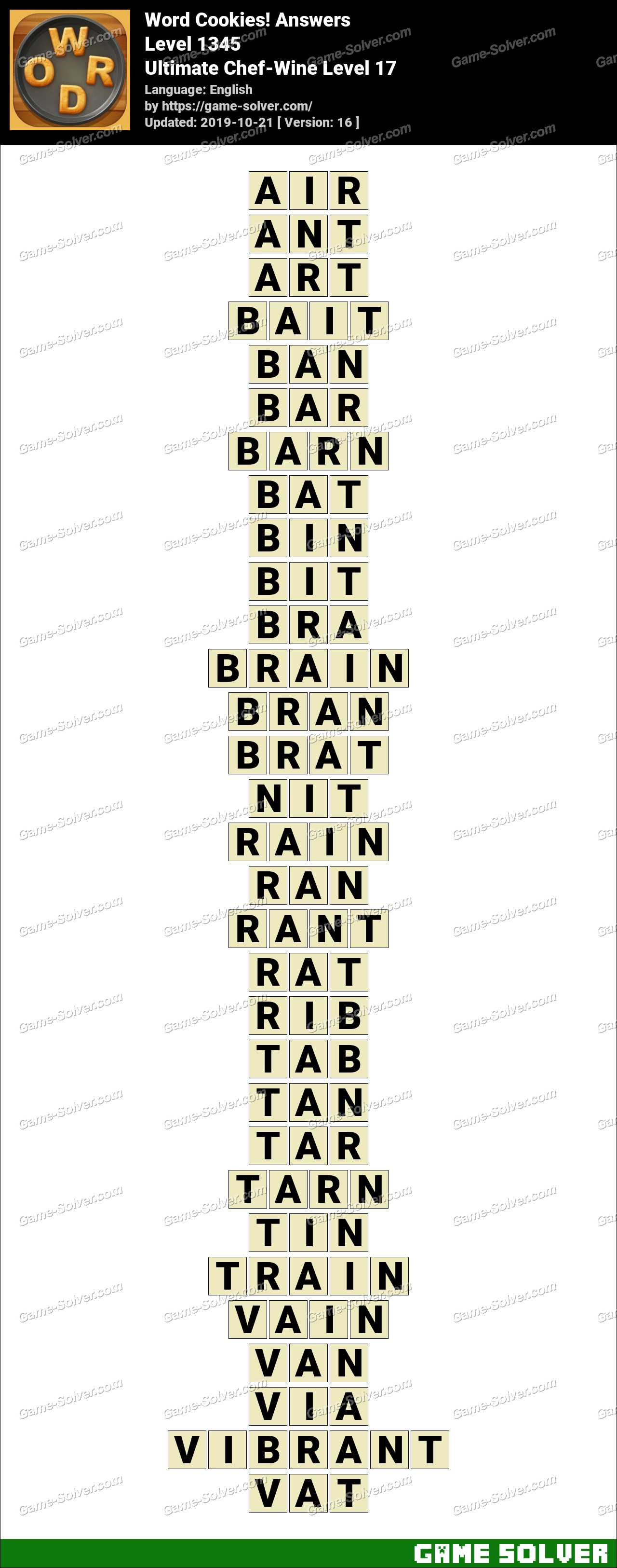 Word Cookies Ultimate Chef-Wine Level 17 Answers