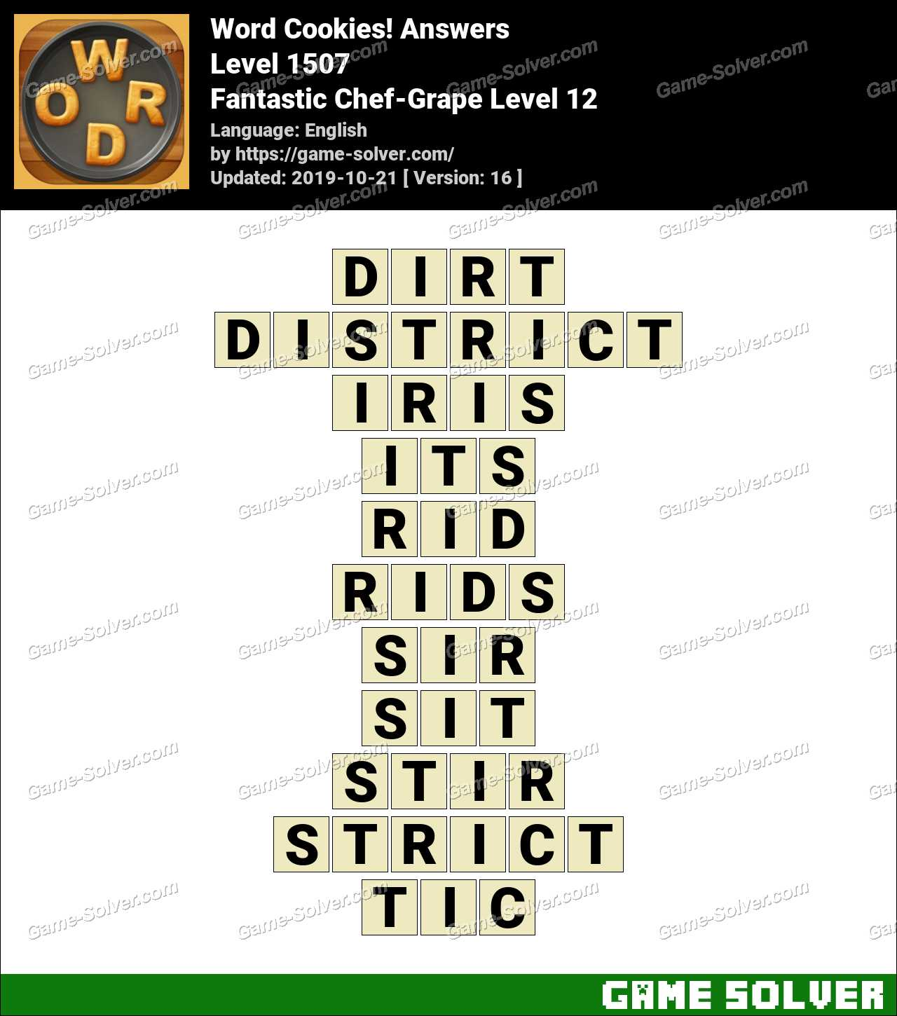 Word Cookies Fantastic Chef-Grape Level 12 Answers