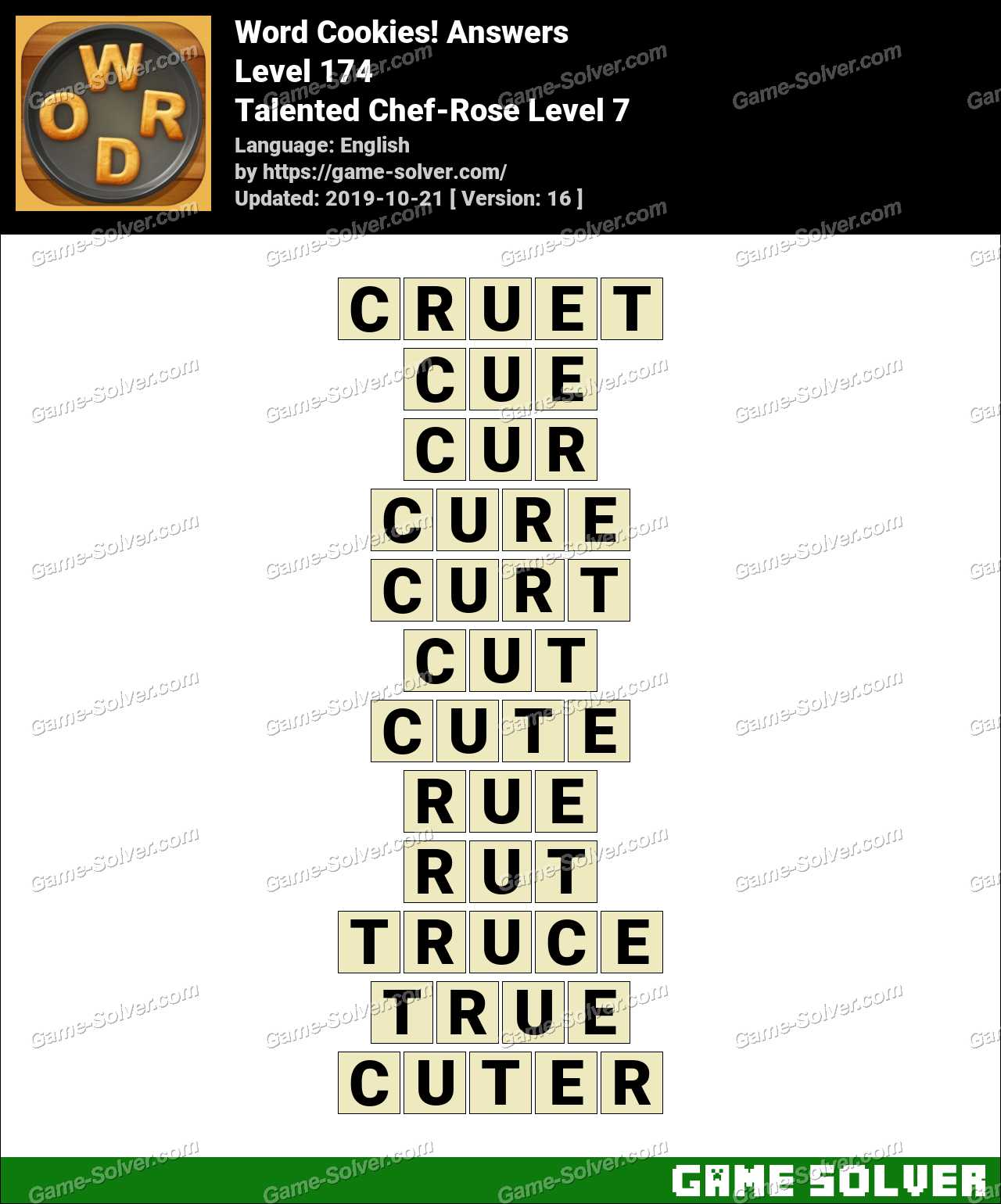 Word Cookies Talented Chef-Rose Level 7 Answers