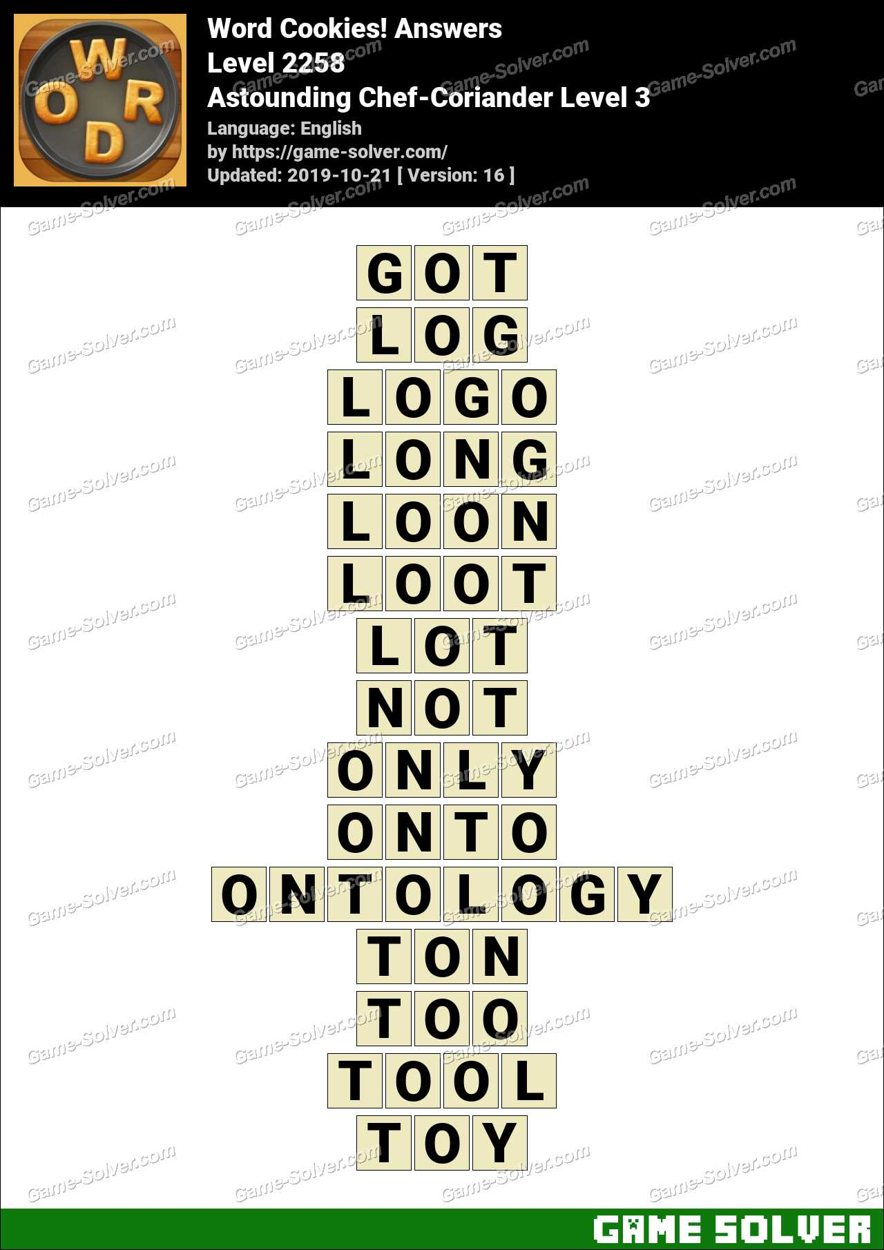 Word Cookies Astounding Chef-Coriander Level 3 Answers