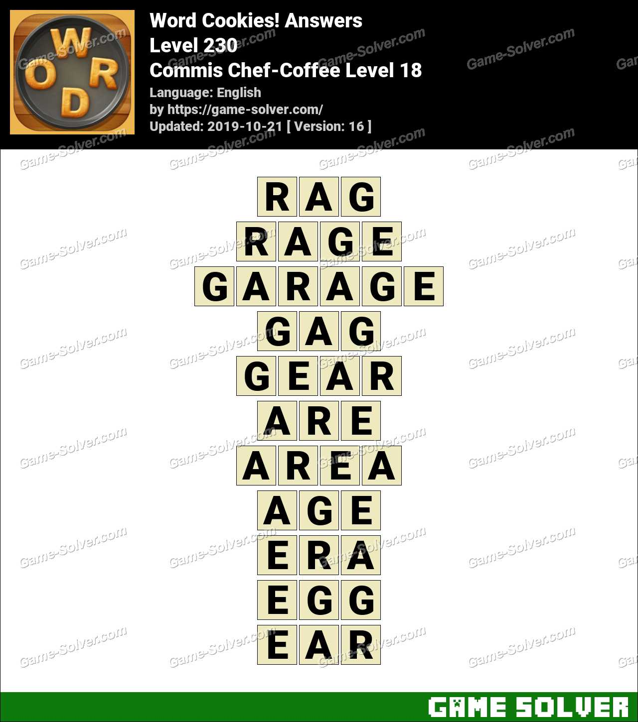 Word Cookies Commis Chef-Coffee Level 18 Answers