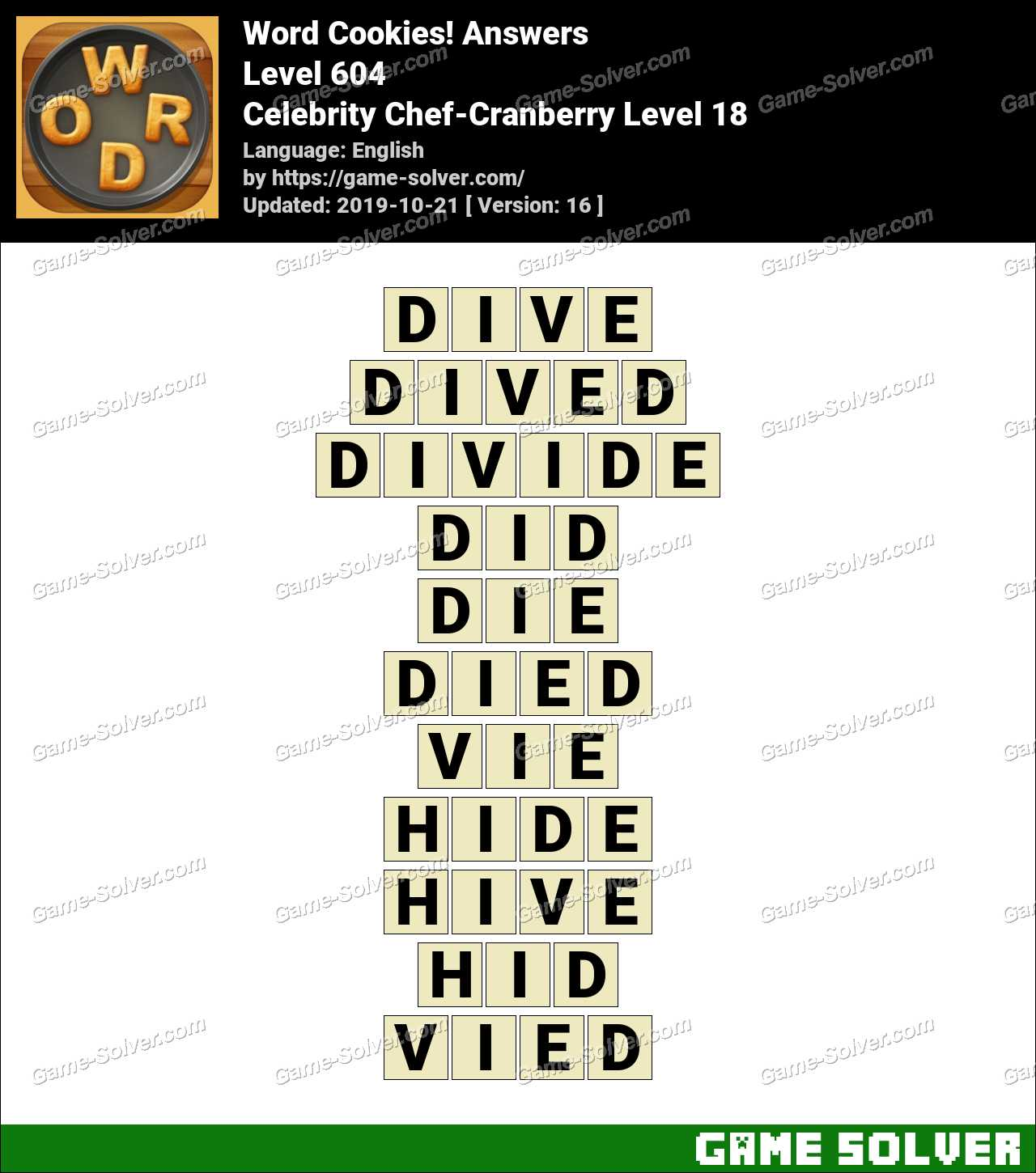 Word Cookies Celebrity Chef-Cranberry Level 18 Answers
