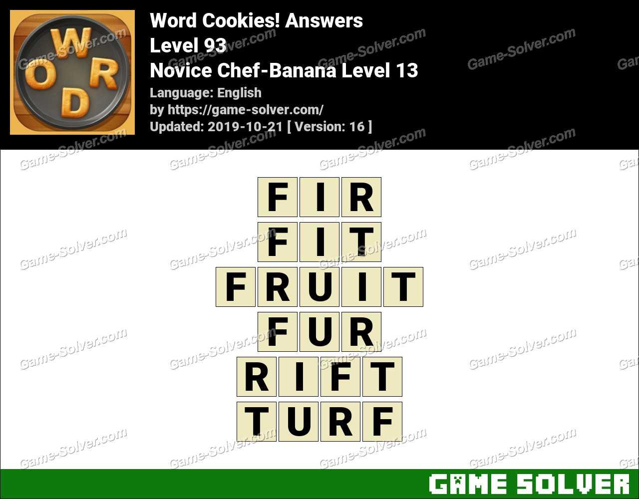 Word Cookies Novice Chef-Banana Level 13 Answers