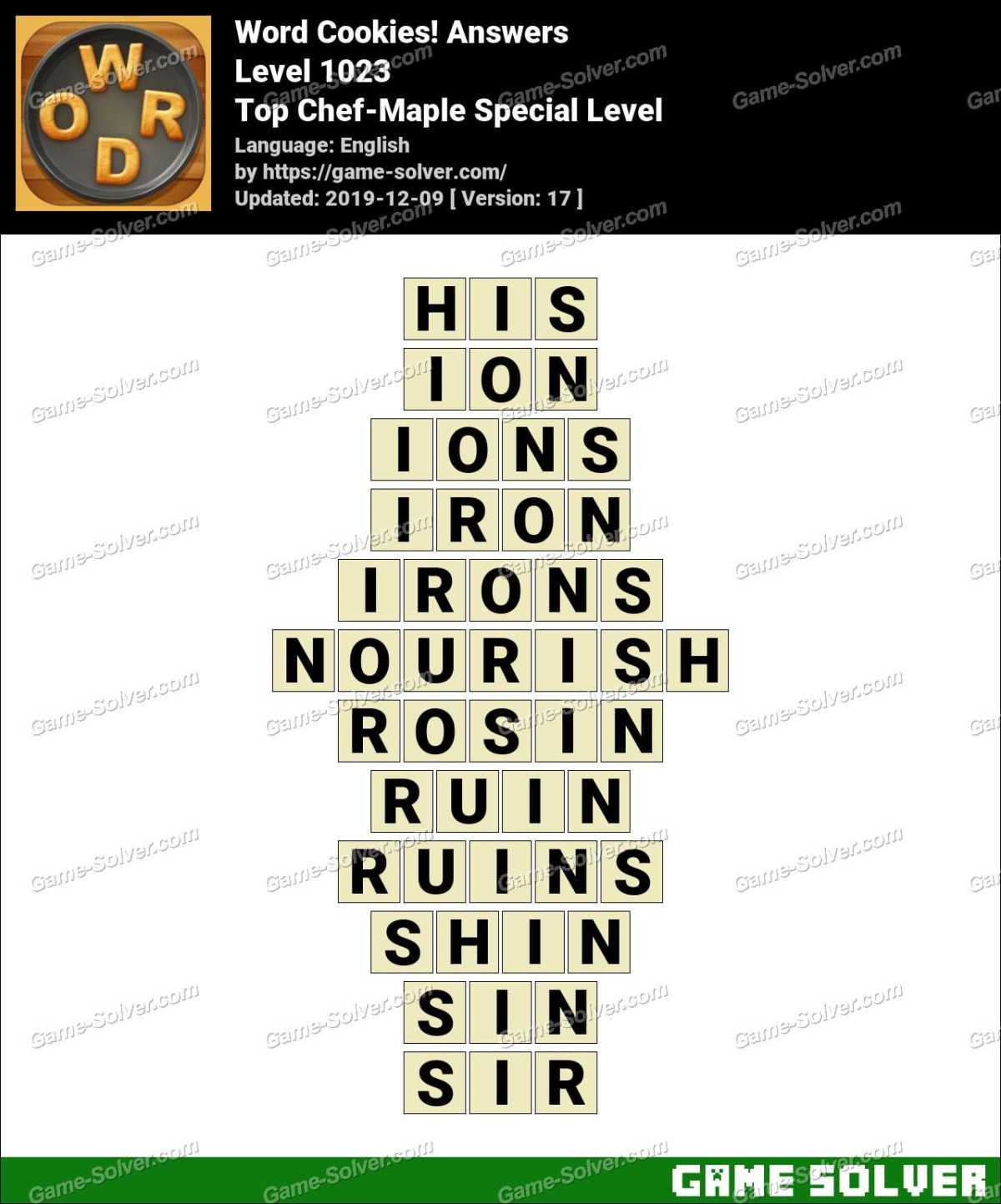 Word Cookies Top Chef-Maple Special Level Answers
