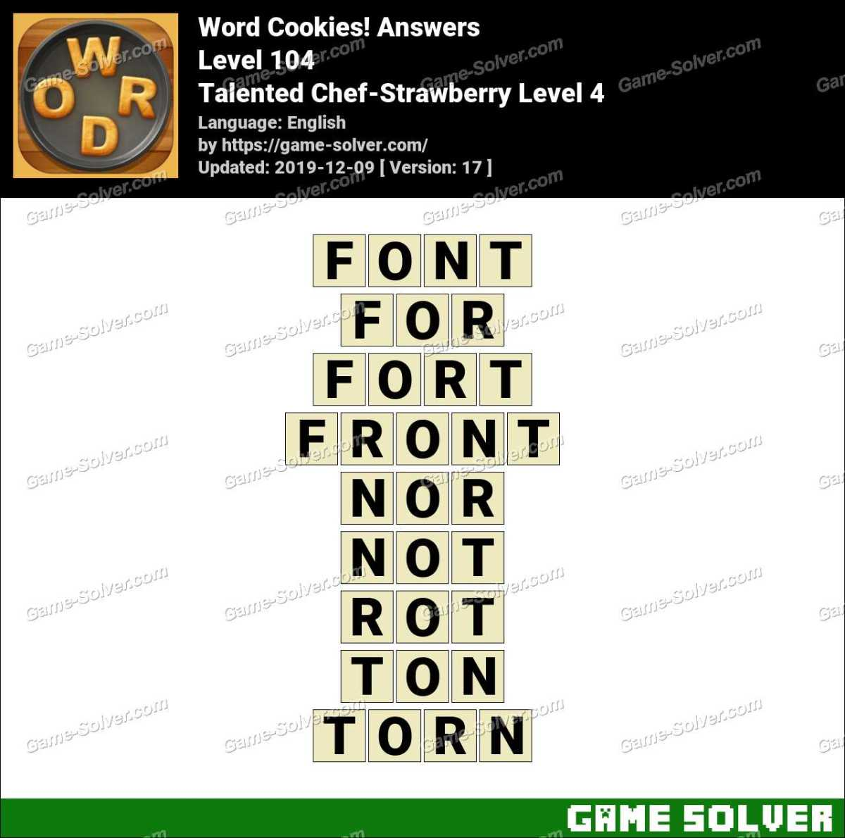 Word Cookies Talented Chef-Strawberry Level 4 Answers