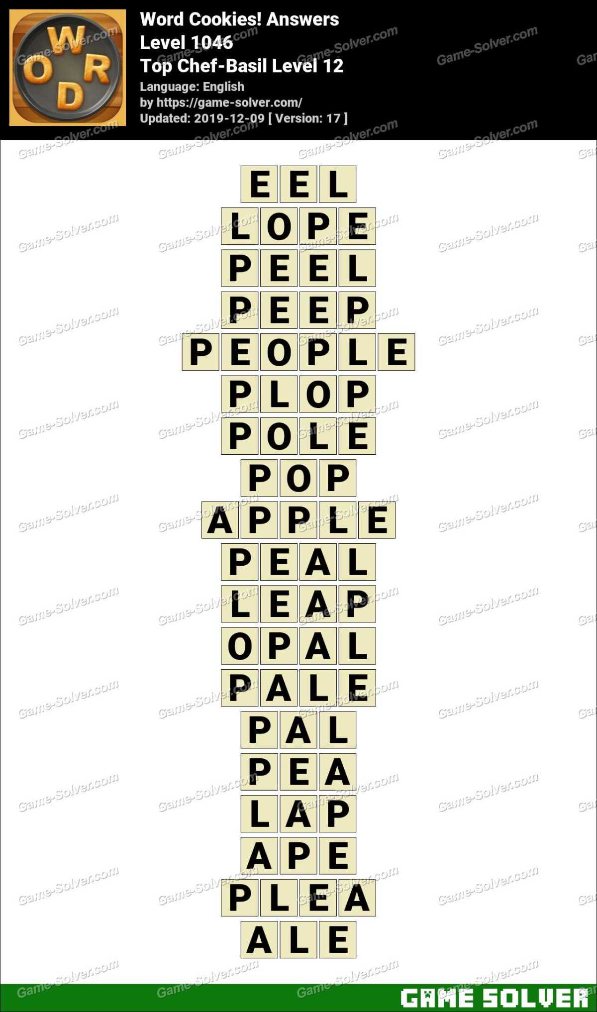 Word Cookies Top Chef-Basil Level 12 Answers