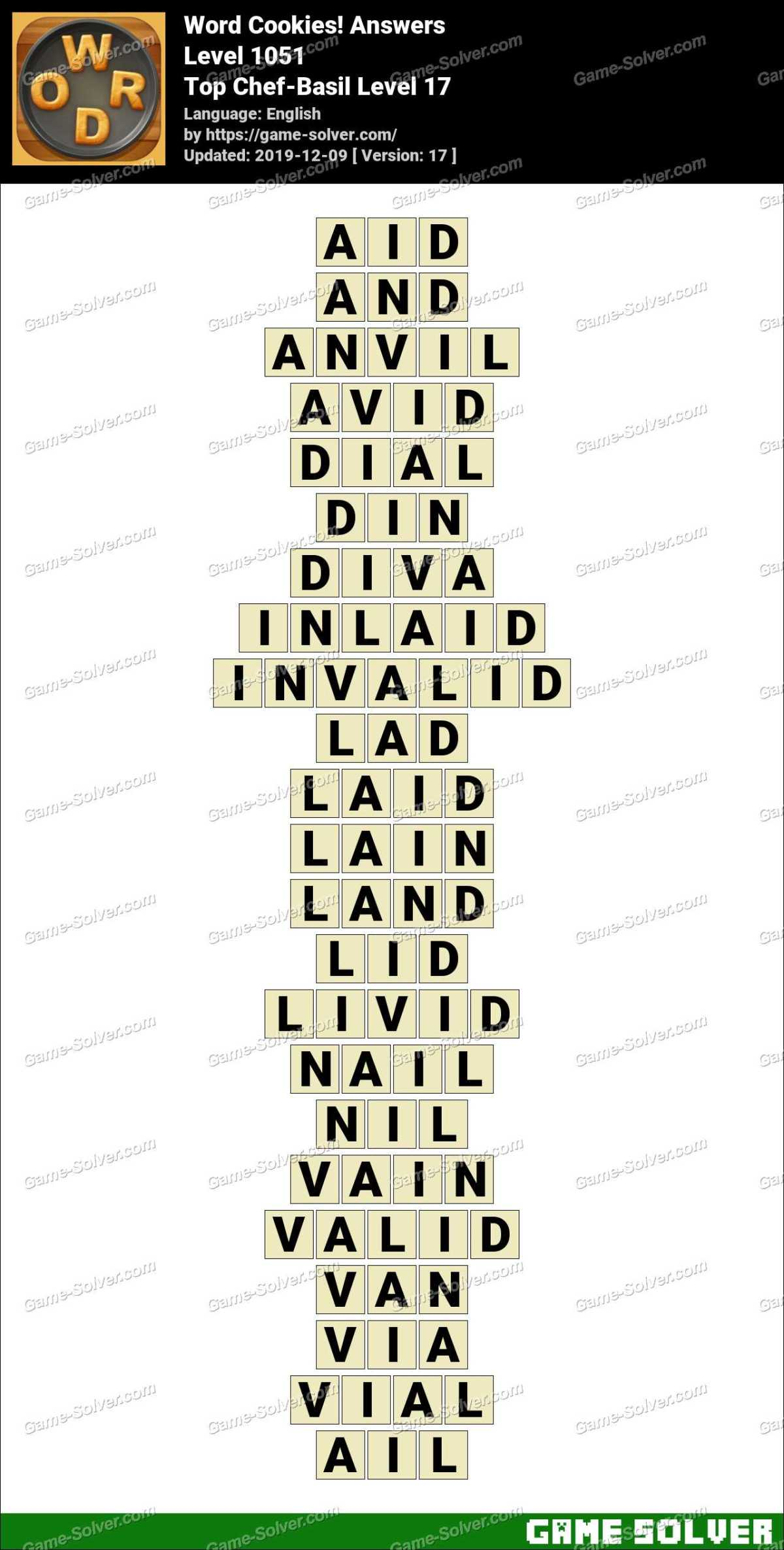 Word Cookies Top Chef-Basil Level 17 Answers