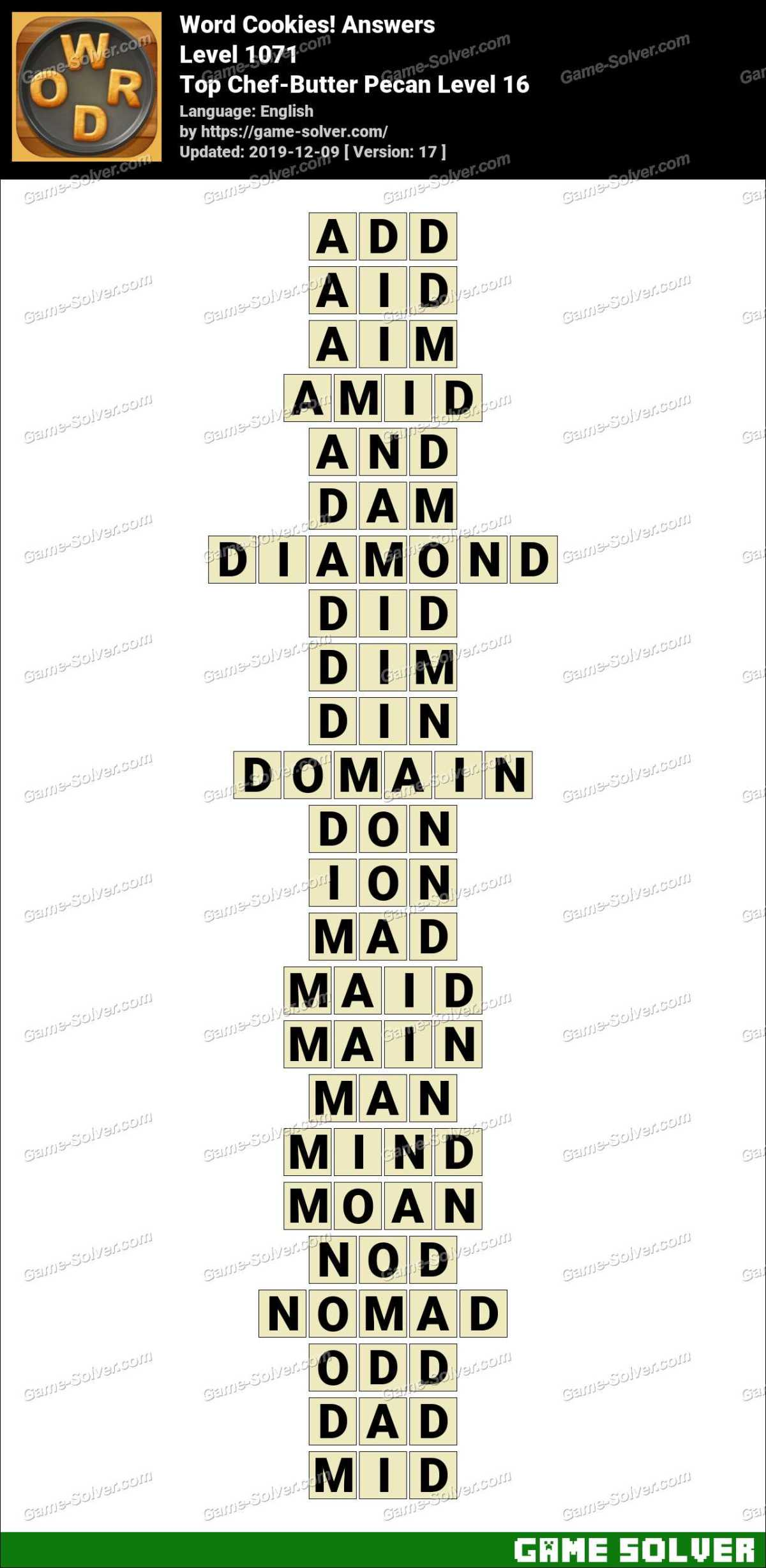 Word Cookies Top Chef-Butter Pecan Level 16 Answers